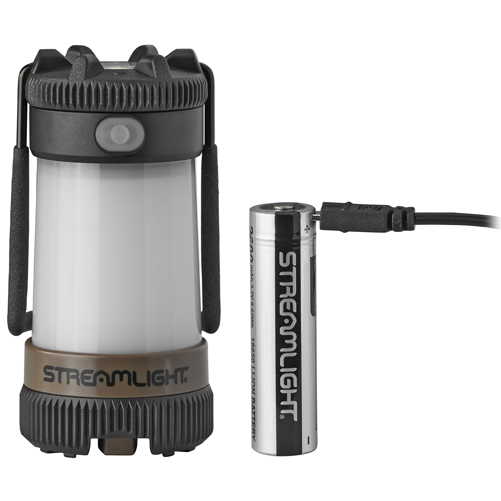 "The ultimate rechargeable lantern. This 2-in-1 lantern/flashlight combo provides 360 degree of light to illuminate a large area or a focused beam to light your path. Multiple modes plus SOS for emergency signaling. MULTI-FUEL innovation - uses Streamlight's 18650 USB battery; also accepts CR123A lithium batteries"" ensuring you'll always have a beam when you need it."