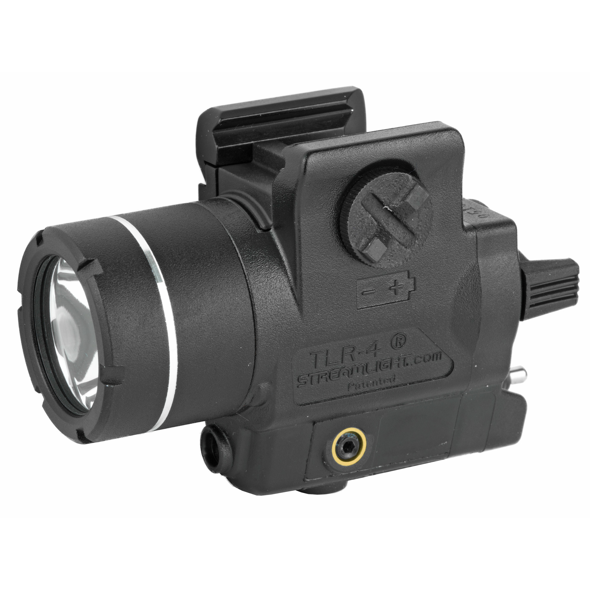 Lightweight polymer rail-mounted light with laser designed to fit compact and sub-compact handguns and most full-sized handguns with rails. TLR-4 is now shining brighter at 170 lumens!