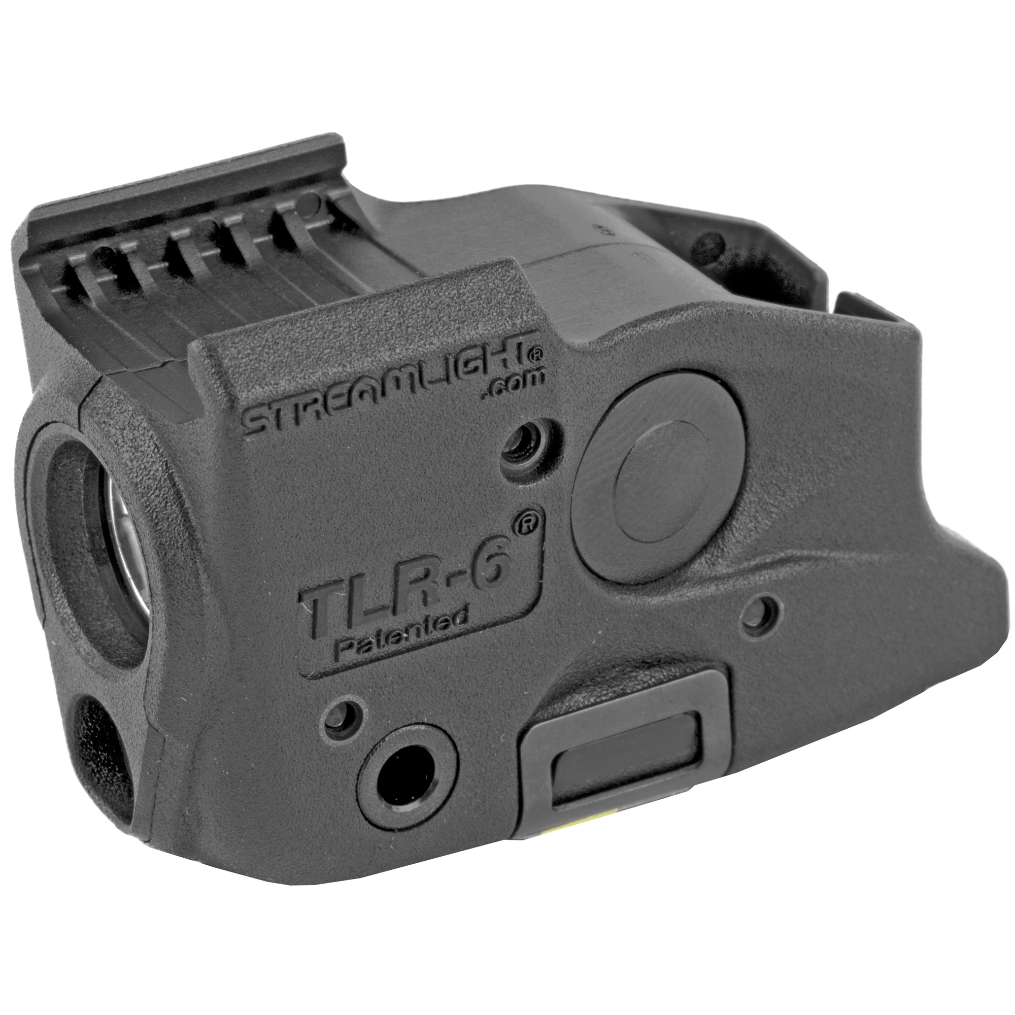 Designed to securely attach to both the rail and trigger guard of standard and compact railed handguns. Using this low-profile weapon light with laser allows for easier identification of potential threats before taking action.
