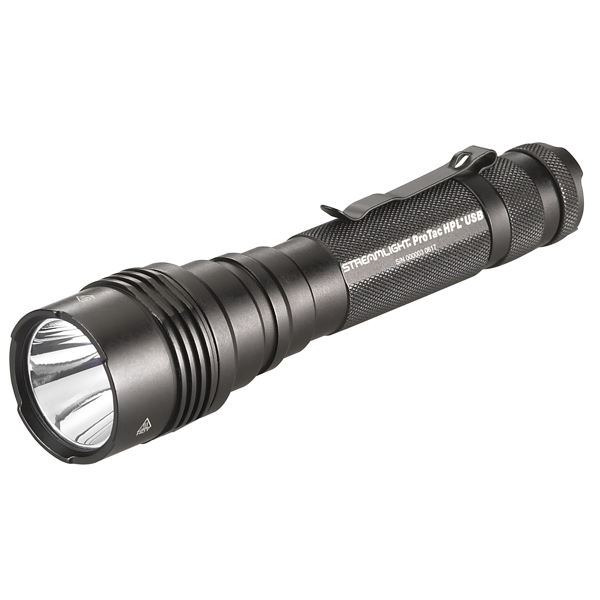 "Long-range"" high candela tactical light that produces a bright"" far-reaching beam that shines 374m to illuminate objects at a distance. It's USB rechargeable"" and it accepts multiple battery sources to use as a backup so you'll always have power when you need it."