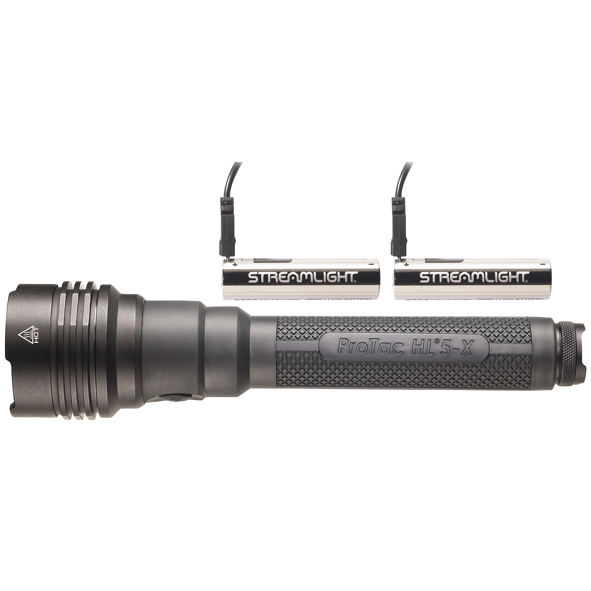 The ProTac HL 5-X USB is a complete rechargeable system that includes two of Streamlight's new 18650 USB batteries with an integrated USB charge port.
