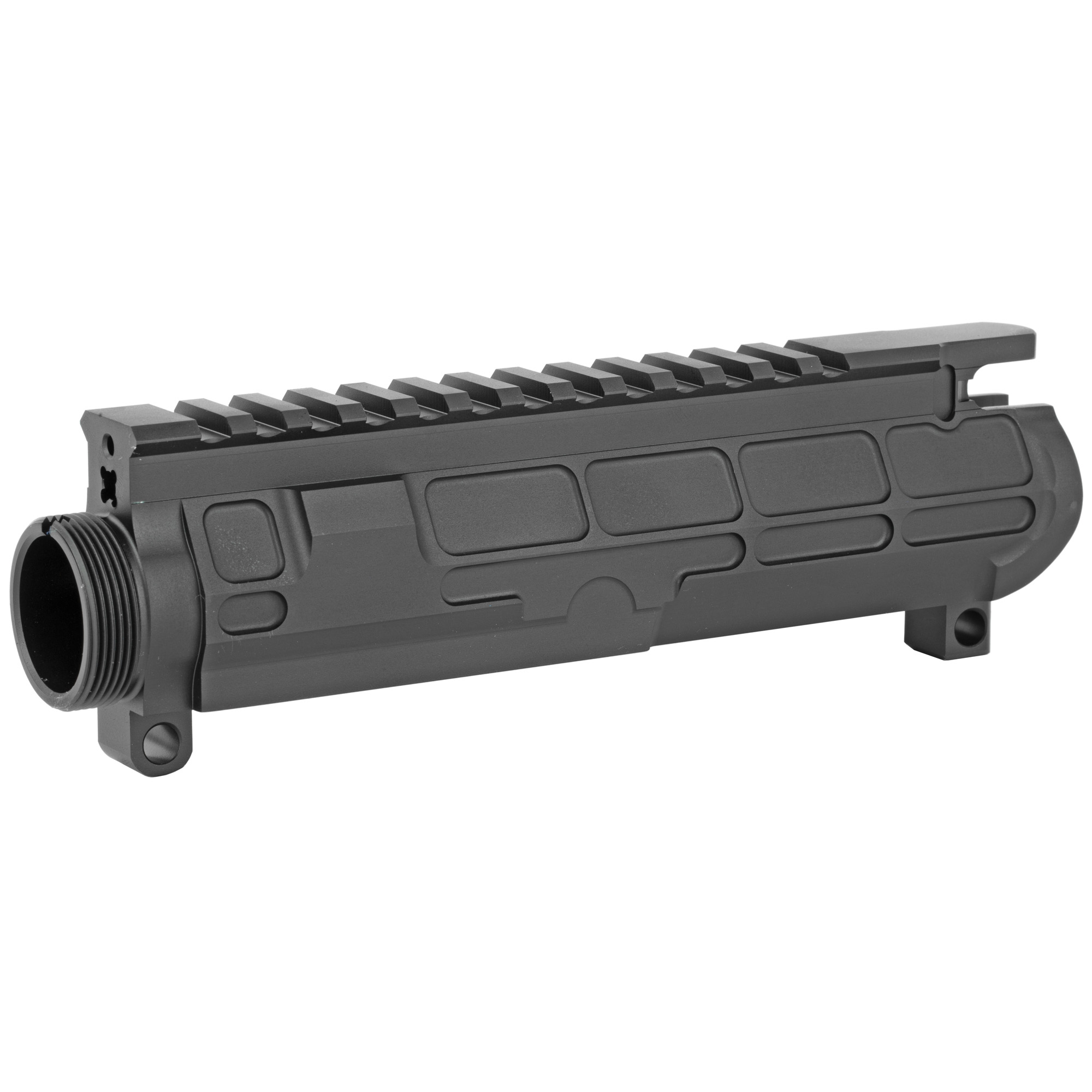 """The STT PILLAR upper receiver is the lightest billet upper available today! STT wanted to create something better"""" something different. Being better was not enough -- STT needed to design an upper that overcame the shortcomings seen in the current offerings . It needed to be lighter"""" stronger"""" and different"""" and all while looking good doing it. SST wasn't going to settle for just hacking another receiver out of a block and calling it good. The first thing people will notice is the truss pockets. With the shooting styles of today's shooters everyone wants to run 15"""" & 16"""" long rails and grip the rail as far out as possible to gain the most control of the rifle. That's like attaching a 16"""" lever to the rifle. The truss design acts similar to a bridge that carries and distributes the stress across the entire platform verses putting all of the stress on the material right behind the threads of the receiver. The extra strength gained from this design is not only to help the receiver. It also in turn helps improve your accuracy. When most people think of a billet receiver they think of a blocky"""" heavy"""" thick design that is CNC machined. STT wanted to break that mold too."""