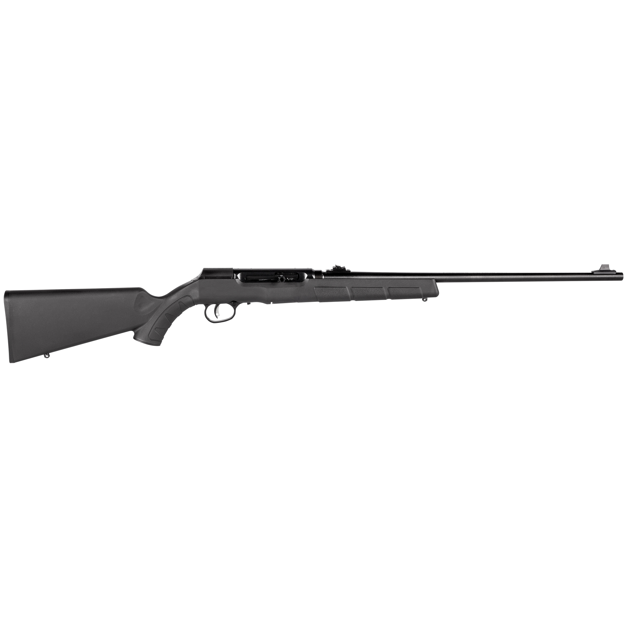 "Accuracy and adrenaline are woven into every aspect of the Savage(R) A22. The semi-automatic 22 Long Rifle is powered by a straight-blowback action and uses the same thread-in headspace system as the centerfire rifles. It has a 10-round rotary magazine"" a lightweight aluminum receiver and the game-changing AccuTrigger(TM)"" which allows for a crisp"" user-adjustable trigger pull."