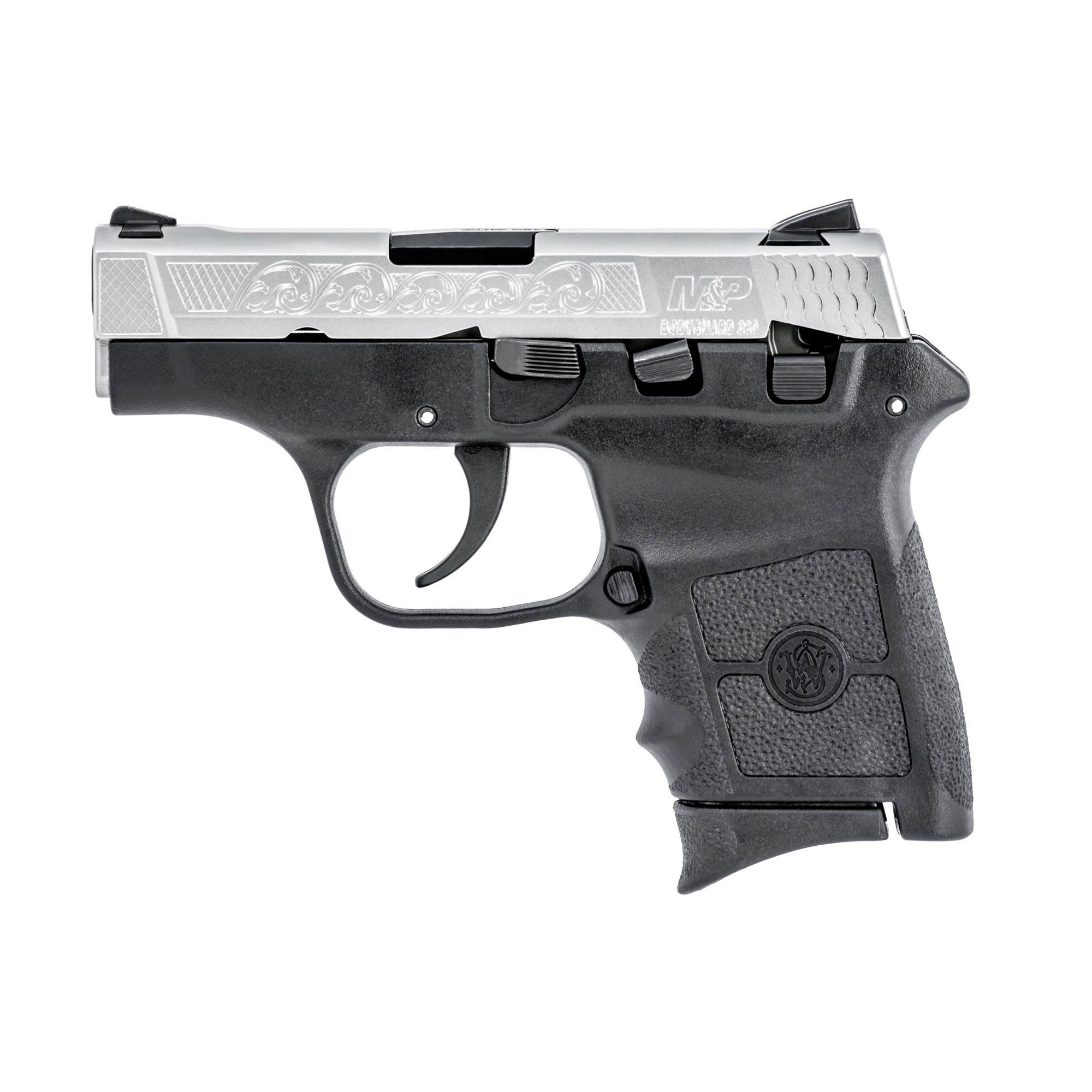 "Compact"" sleek and ergonomic"" the M&P(R) BODYGUARD(R) 380 delivers personal protection in an easy-to-carry"" comfortable platform. Chambered for .380 ACP"" the lightweight pistol features a high-strength polymer frame with a black"" matte-coated stainless-steel slide and barrel. The new M&P BODYGUARD 380 retains original design features including a 2 3/4-inch barrel"" which contributes to an overall length of 5 1/4 inches and an unloaded weight of only 12.3 ounces making it perfectly suited for concealed carry. This package includes 2 magazines"" one with a finger groove for added stability"" and one with a flat butt plate for maximum concealability."