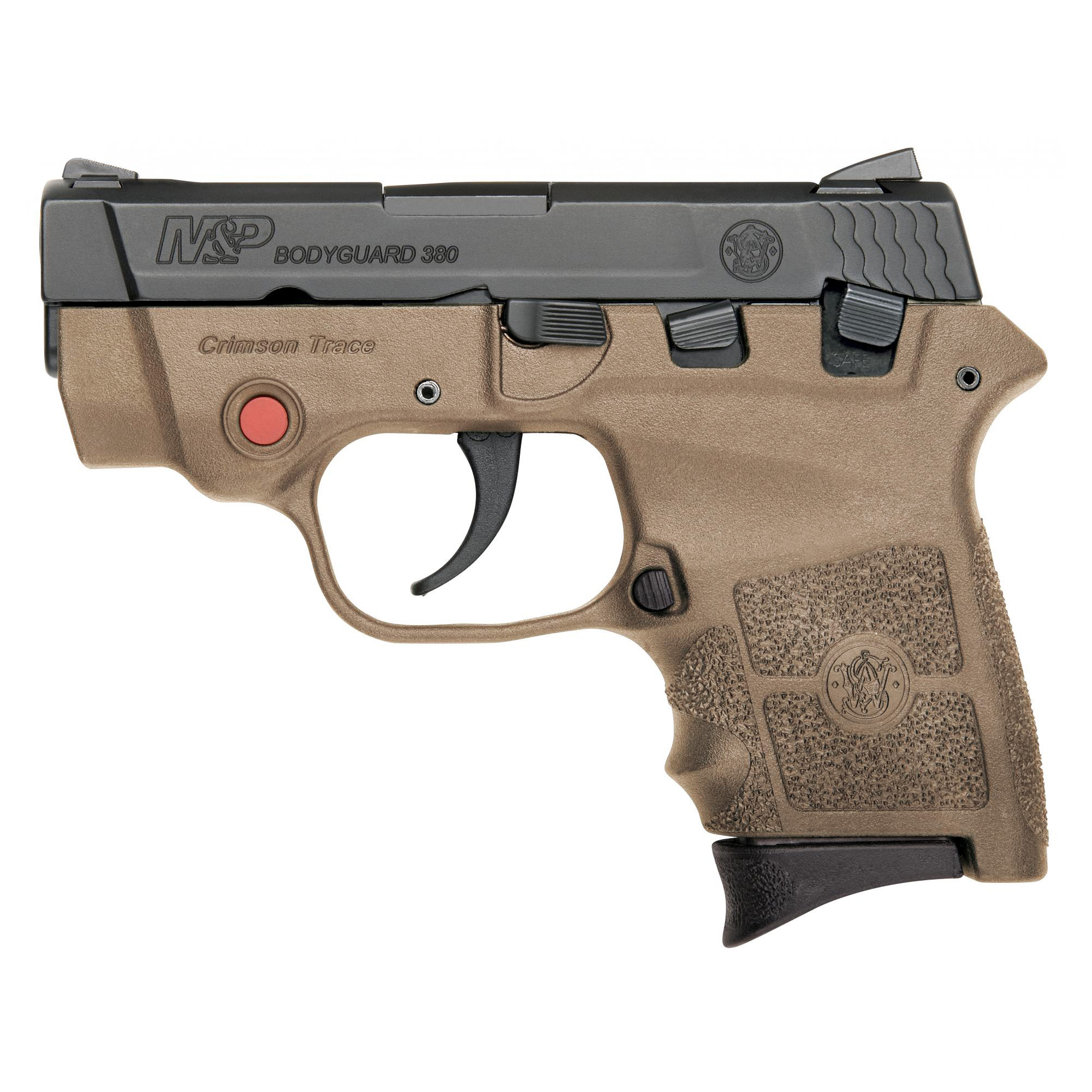 "Compact and sleek"" the M&P BODYGUARD 380 delivers personal protection in an easy-to-carry"" comfortable platform. Chambered for .380 ACP"" the lightweight pistol features a high-strength polymer frame with a black"" matte-coated stainless-steel slide and barrel. The new M&P BODYGUARD 380 retains original design features including a 2 3/4-inch barrel"" which contributes to an overall length of 5 1/4 inches and an unloaded weight of only 12.3 ounces making it perfectly suited for concealed carry. Lightweight"" and simple to use - nothing protects like a BODYGUARD. Includes two magazines"" one flat butt plate and one finger rest butt plate."
