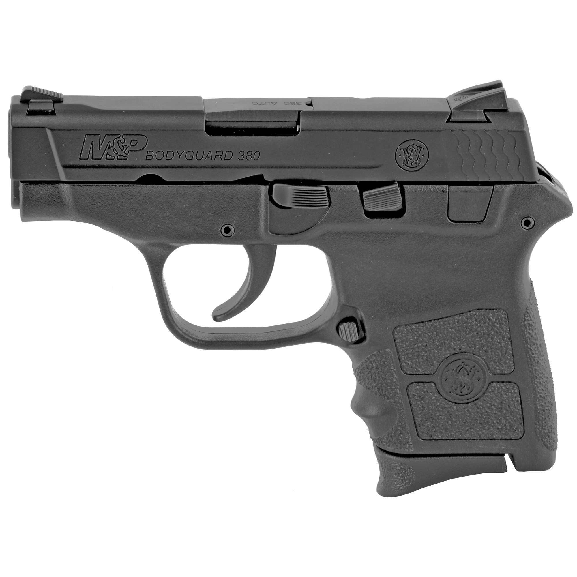 "Compact and sleek"" the M&P BODYGUARD 380 delivers personal protection in an easy-to-carry"" comfortable platform. Chambered for .380 ACP"" the lightweight pistol features a high-strength polymer frame with a black"" matte-coated stainless-steel slide and barrel. The new M&P BODYGUARD 380 retains original design features including a 2 3/4-inch barrel"" which contributes to an overall length of 5 1/4 inches and an unloaded weight of only 12.3 ounces making it perfectly suited for concealed carry. Lightweight"" simple to use and featuring integrated laser sights - nothing protects like a BODYGUARD. Two magazines included"" one flat butt plate and one finger rest butt plate."