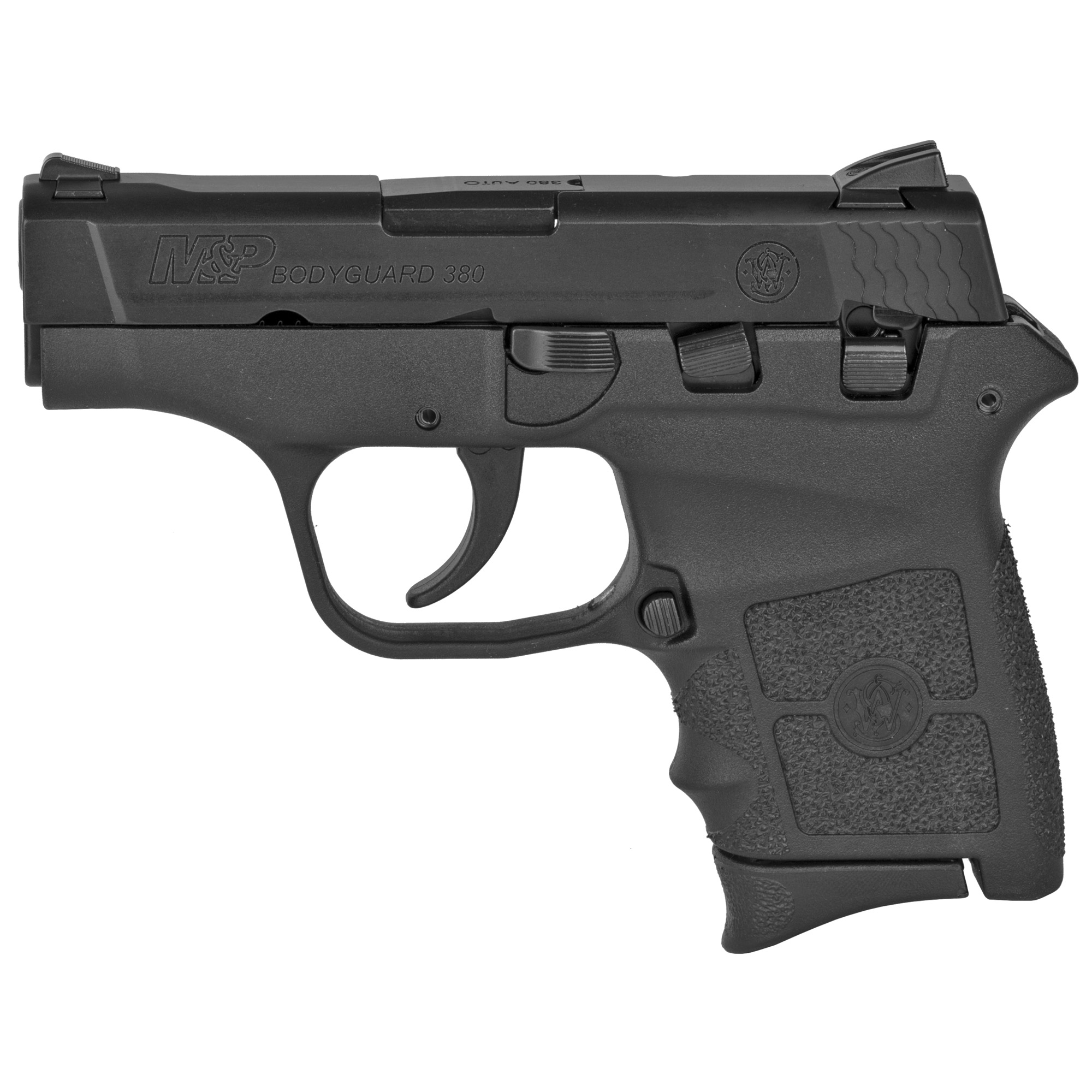 "Compact and sleek"" the M&P BODYGUARD 380 delivers personal protection in an easy-to-carry"" comfortable platform. Chambered for .380 ACP"" the lightweight pistol features a high-strength polymer frame with a black"" matte-coated stainless-steel slide and barrel. The new M&P BODYGUARD 380 retains original design features including a 2 3/4-inch barrel"" which contributes to an overall length of 5 1/4 inches and an unloaded weight of only 12.3 ounces making it perfectly suited for concealed carry. Lightweight"" and simple to use - nothing protects like a BODYGUARD. Includes two magazines. One finger groove and one flat butt plate."