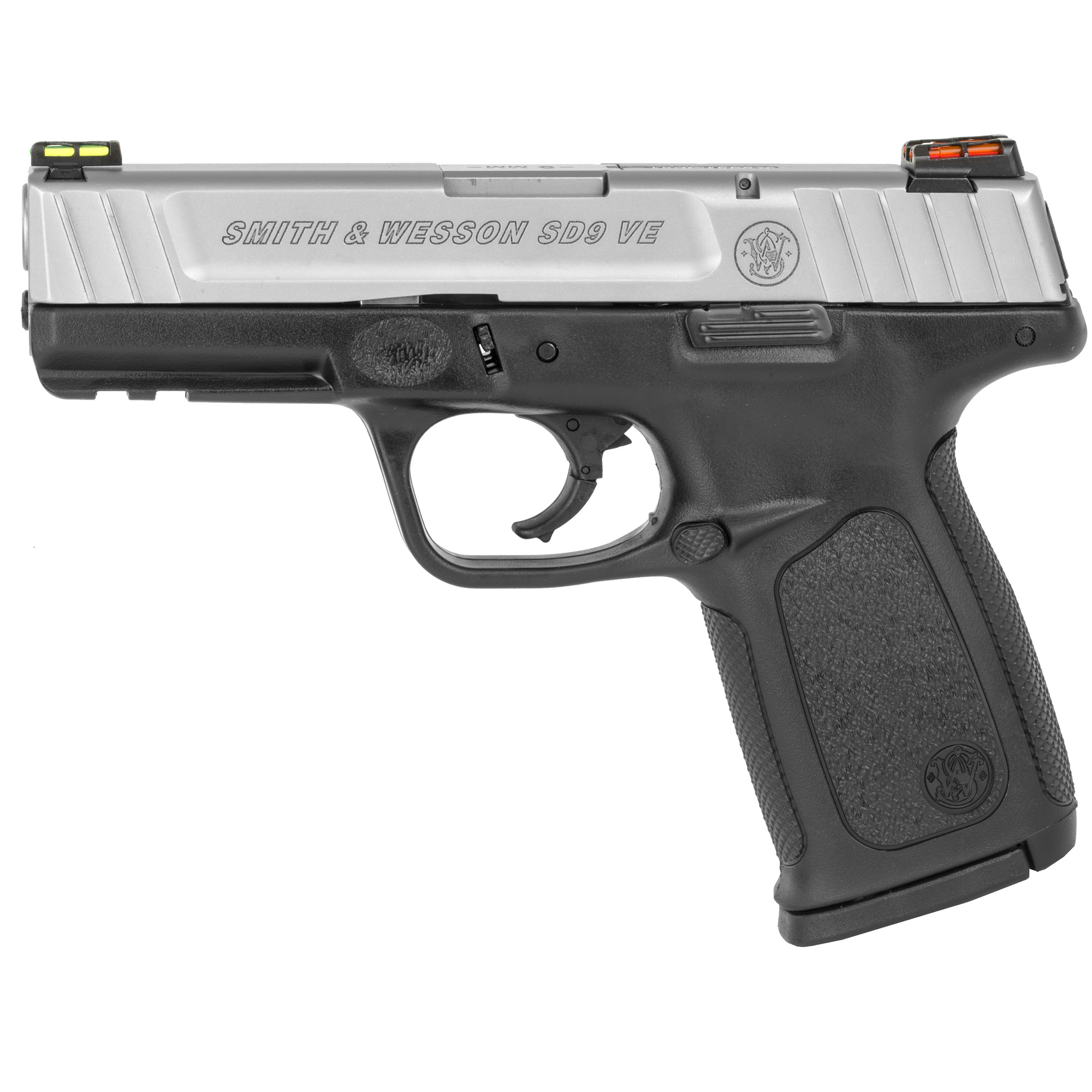 "The Smith & Wesson Model SD9VE includes the exclusive SDT (Self Defense Trigger) for optimal"" consistent combat effective trigger pulls from the first round to last. Standard white dot sights provide a crisp and clean sight picture that's easy to pick up and fast to reacquire. Mounting accessories such as white lights and lasers is made easy due to the picatinny style dust cover rail. A slim and ergonomic textured grip provides sure purchase in dicey situations. The SD9VE also features textured finger locators"" which make it easy to draw with a consistent grip each and every time. This package comes with two magazines."