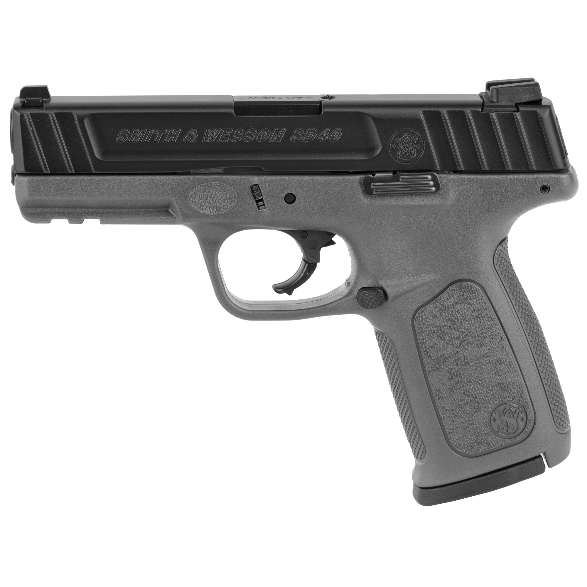 "The Smith & Wesson SD40 semi-automatic pistol offers you an exception value at a price which can't be beat. This particular model features a Stainless Steel slide and barrel with a matte black finish. The frame features a textured grip and is made from high quality polymer. The slide is adorned with a set of fixed 3 dot sights"" and the frame allows of the mounting of various accessories via the accessory rail. This two tone black slide and grey frame is a nice variation from the standard black. Includes two 14-round magazines."