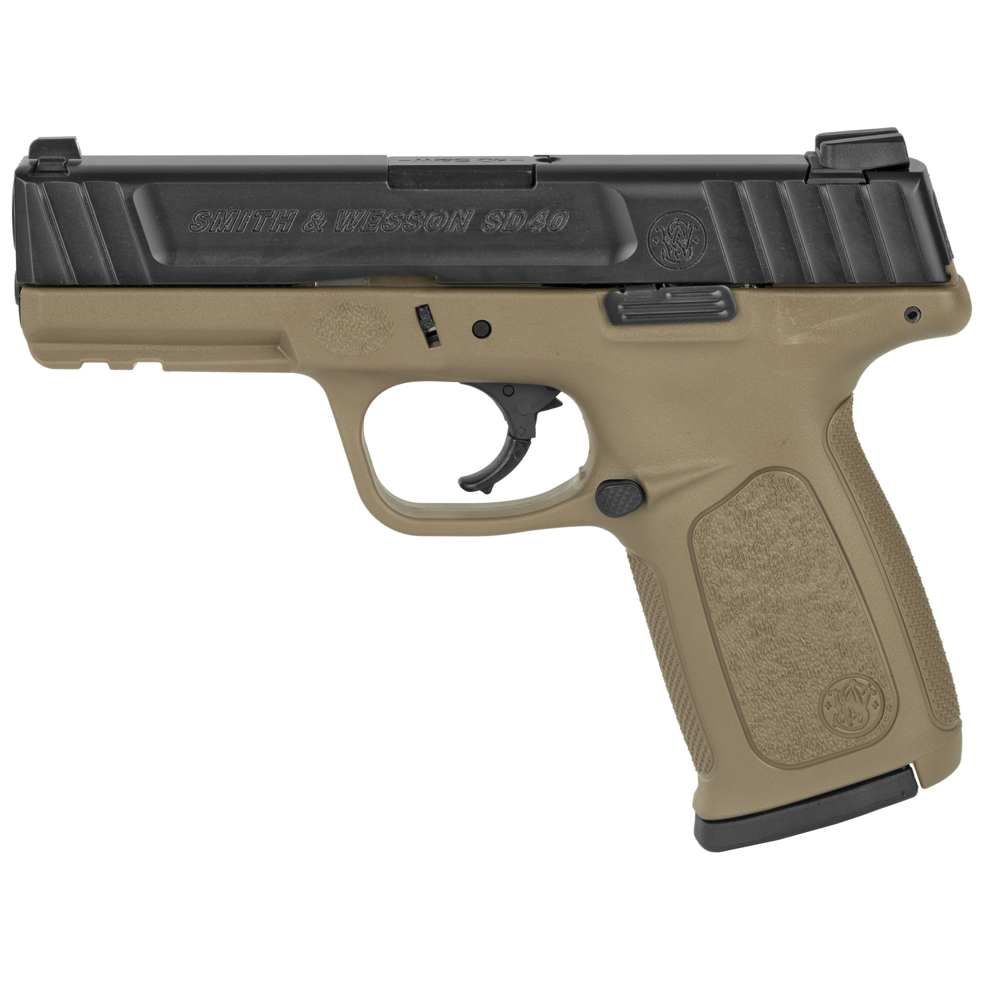 "The Striker-Fired SD40 now comes with an FDE frame! The SD40 is a direct evolution of the Smith & Wesson SD"" and its overall design has an improved self-defense trigger"" and a comfortable"" ergonomic"" FDE textured grip. The SD40 also features an improved stainless steel barrel and slide"" which were not standard on the original SD. Includes two 14-round magazines."