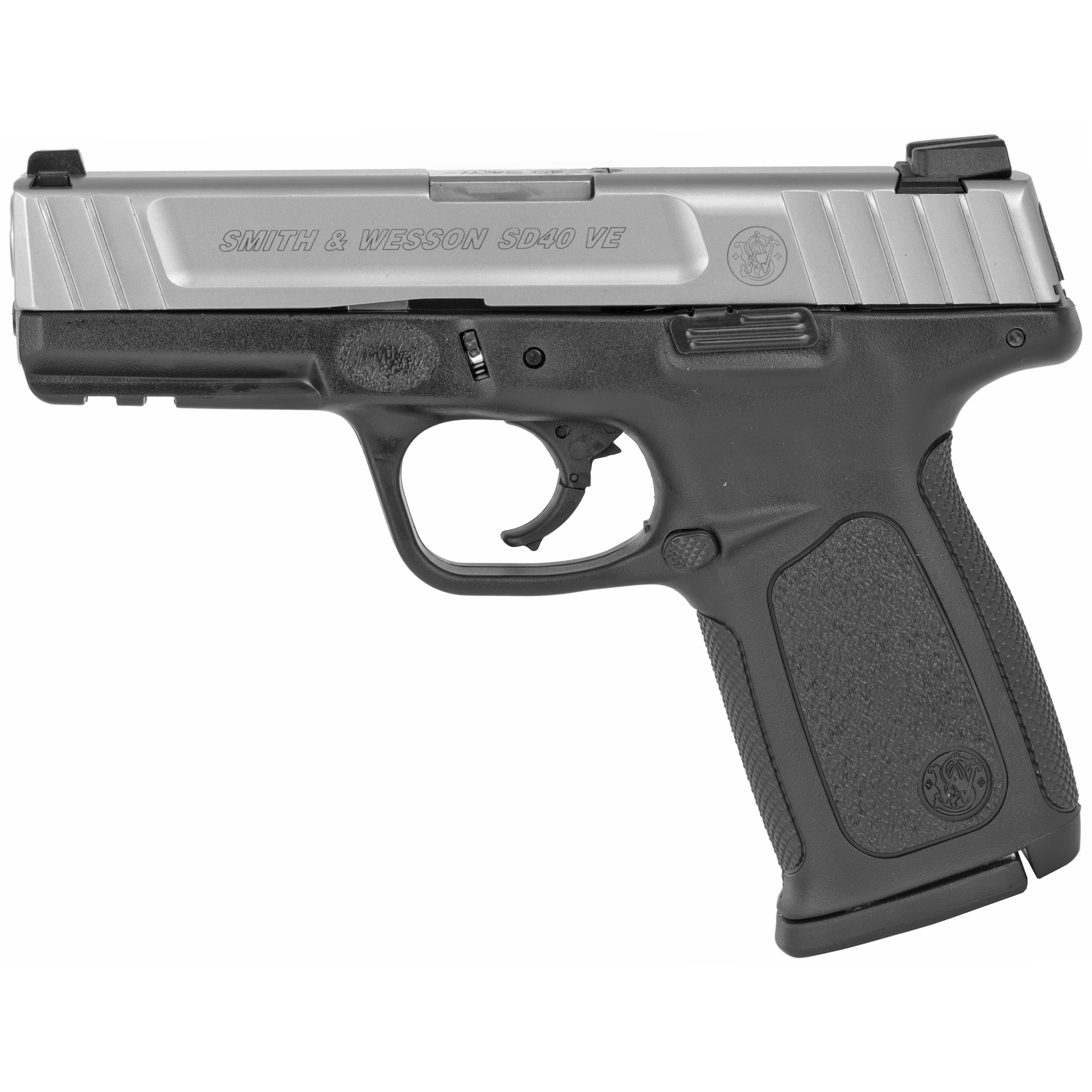 "S&W Model SD40 VE comes with SDT (Self Defense Trigger) for optimal"" consistent pull first round to last. The slim ergonomic grip is textured as well as having a textured finger locator. Includes two 10-round magazines."
