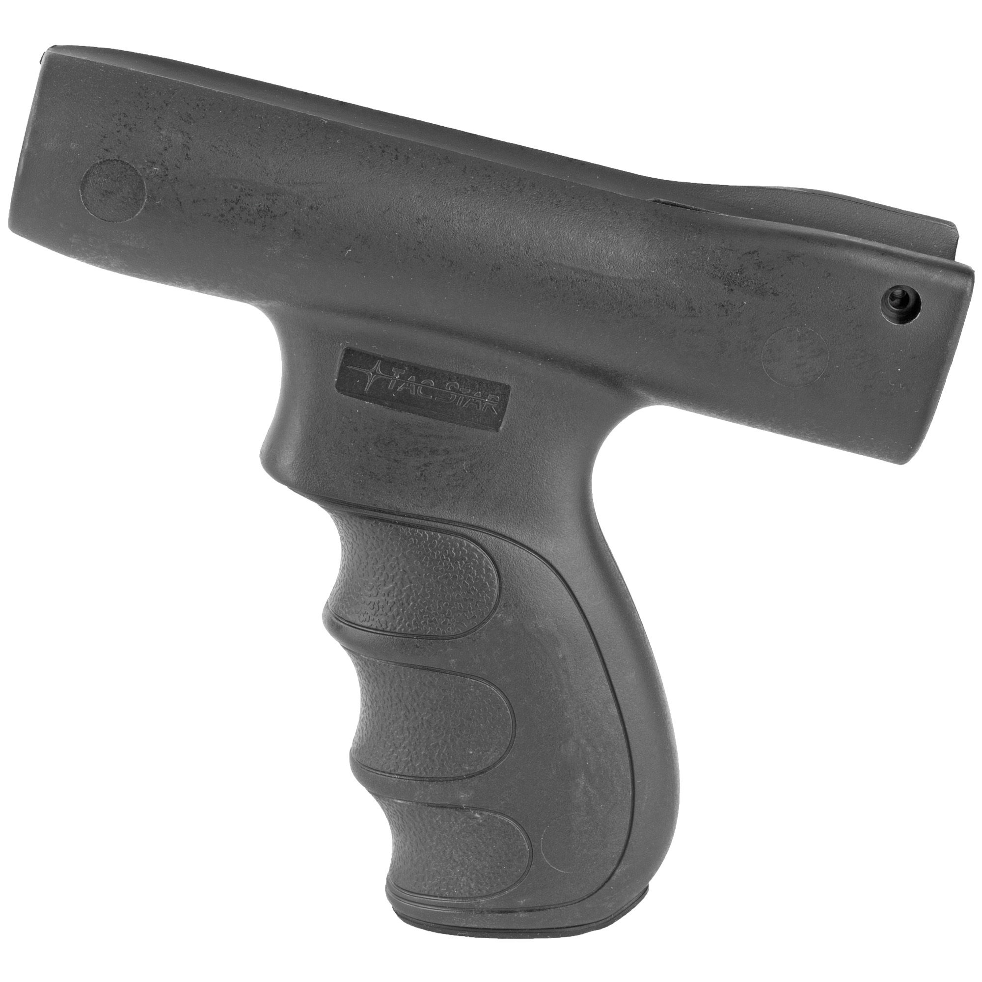 """The TacStar Shotgun Grips were designed with the proper width"""" rearward angle and back swell to distribute recoil energy evenly into both hands resulting in greater speed"""" accuracy and control when shooting. Injection-molded from a high-impact ABS polymer"""" Tactical Shotgun Grip Sets include all the necessary hardware for quick and easy installation and require no alterations to the shotgun. 12 Gauge only. Fits Mossberg 500"""" 590"""" 600 and Maverick. Front grip only."""