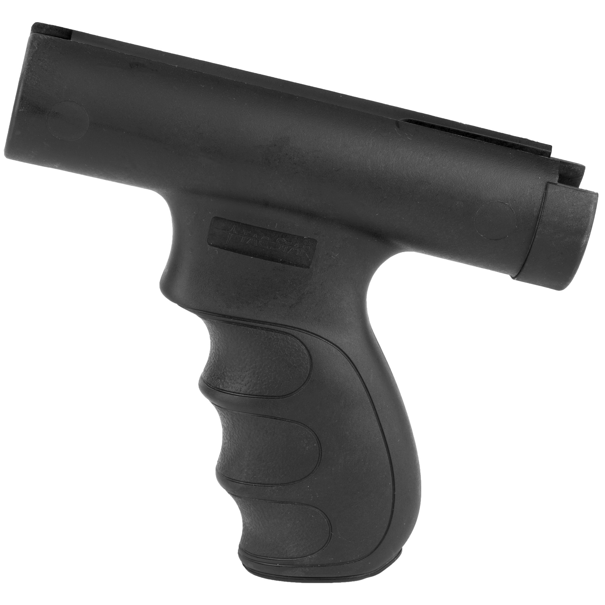 """The TacStar Shotgun Grips were designed with the proper width"""" rearward angle and back swell to distribute recoil energy evenly into both hands resulting in greater speed"""" accuracy and control when shooting. Injection-molded from a high-impact ABS polymer"""" Tactical Shotgun Grip Sets include all the necessary hardware for quick and easy installation and require no alterations to the shotgun. 12 Gauge only. Fits Remington 870. Front grip only."""