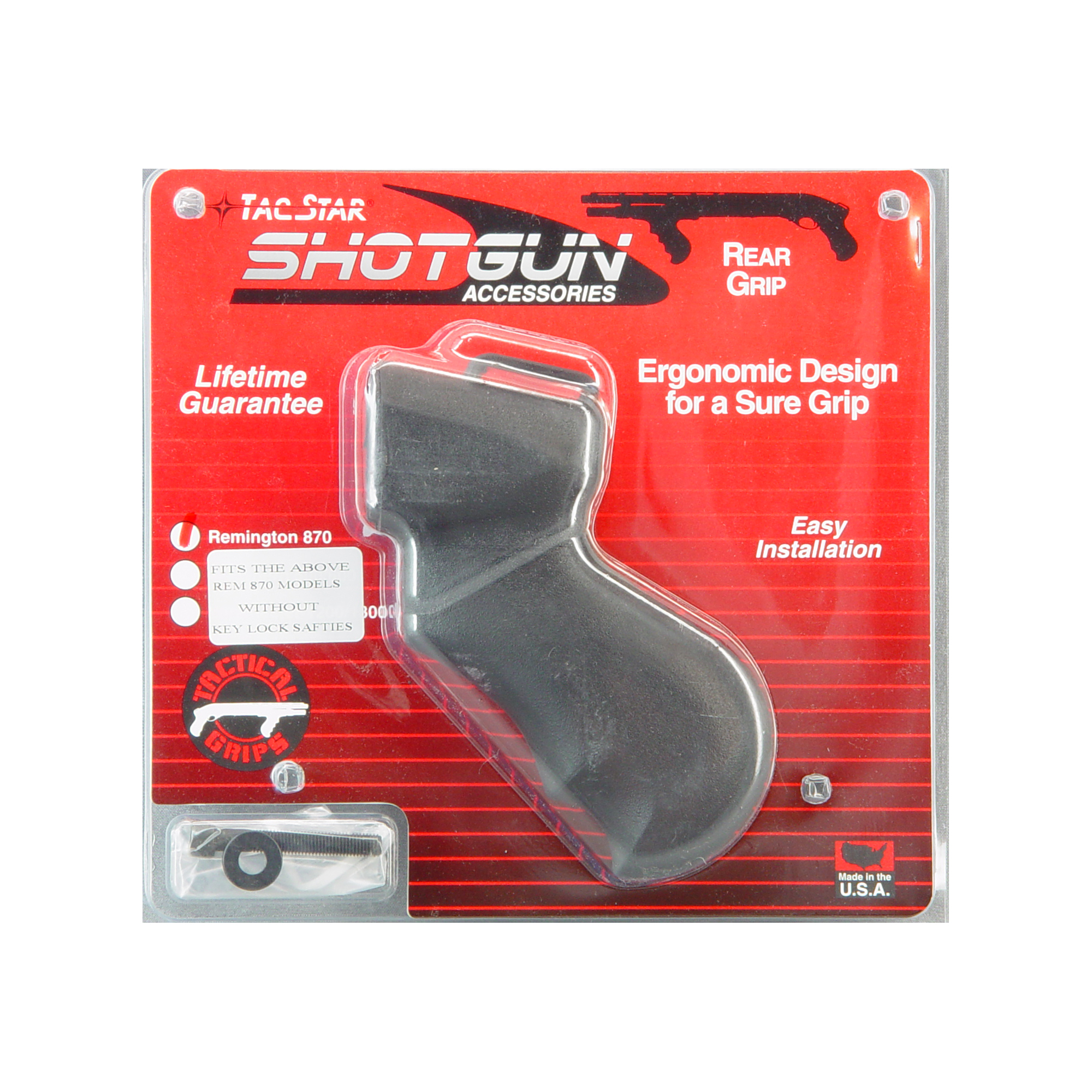 """The TacStar Shotgun Grips were designed with the proper width"""" rearward angle and back swell to distribute recoil energy evenly into both hands resulting in greater speed"""" accuracy and control when shooting. Injection-molded from a high-impact ABS polymer"""" Tactical Shotgun Grip Sets include all the necessary hardware for quick and easy installation and require no alterations to the shotgun. 12 Gauge only. Fits Remington 870. Rear grip only."""