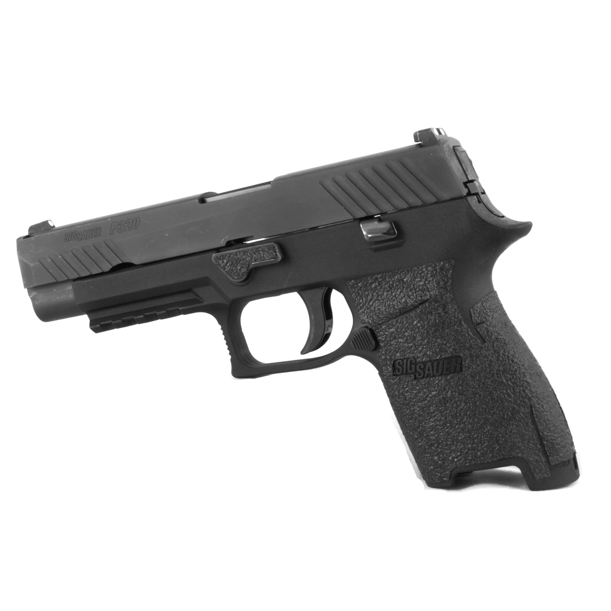 """TALON Grips for Sig Sauer P250 and P320 9mm/.357/.40./45 Compact with the medium module. This rear wrap grip is in rubber texture and offers full side panel coverage including the thumb rest area"""" full coverage under the trigger guard"""" and high coverage on the backstrap. This grip has a graphic cutout for the Sig Sauer emblem."""
