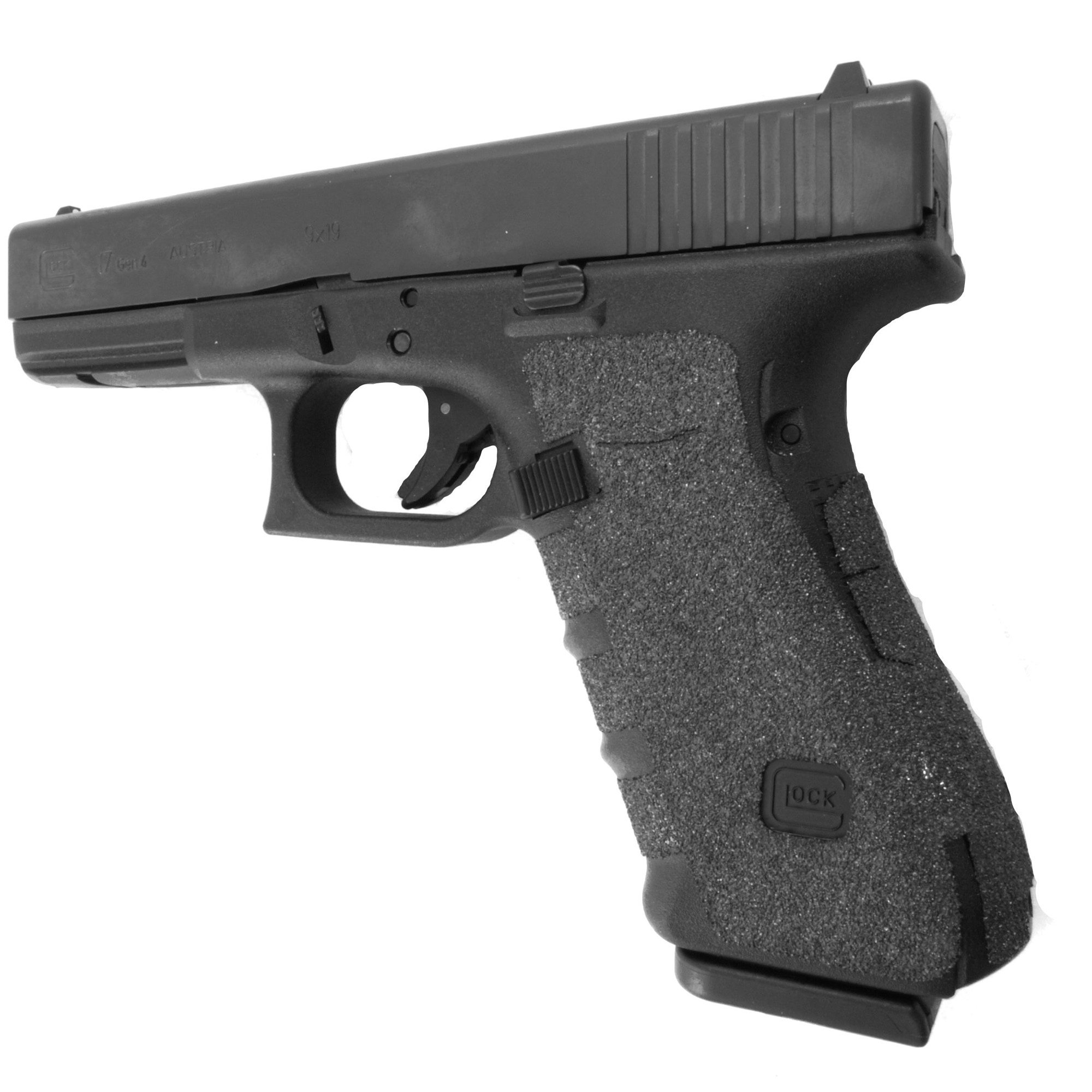 """TALON Grips for Glock Model 17"""" 22"""" 24"""" 31"""" 34"""" 35"""" and 37 models Gen 1"""" 2"""" 3. This rear wrap grip is in the granulate texture. This grip provides full coverage on the side panels including above the thumb rest"""" ample coverage on the backstrap"""" and three finger wraps for the finger groves under the trigger guard. This grip has a logo cutout for the Glock emblem on the left side of the handle. This grip sticks extremely well even with the Rough Textured Frame (RTF)."""