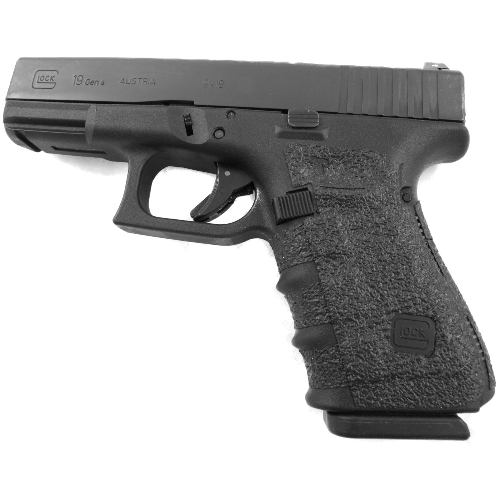 """TALON Grips for Gen 4 Glock 19"""" 23"""" 25"""" 32"""" and 38 models with No Backstrap. This rear wrap grip is in the rubber texture. This grip provides full coverage on the side panels including above the thumb rest"""" ample coverage on the backstrap"""" and three finger wraps for the finger groves under the trigger guard. This grip has a logo cutout for the Glock emblem on the left side of the handle. This grip sticks extremely well even with the Rough Textured Frame (RTF)."""