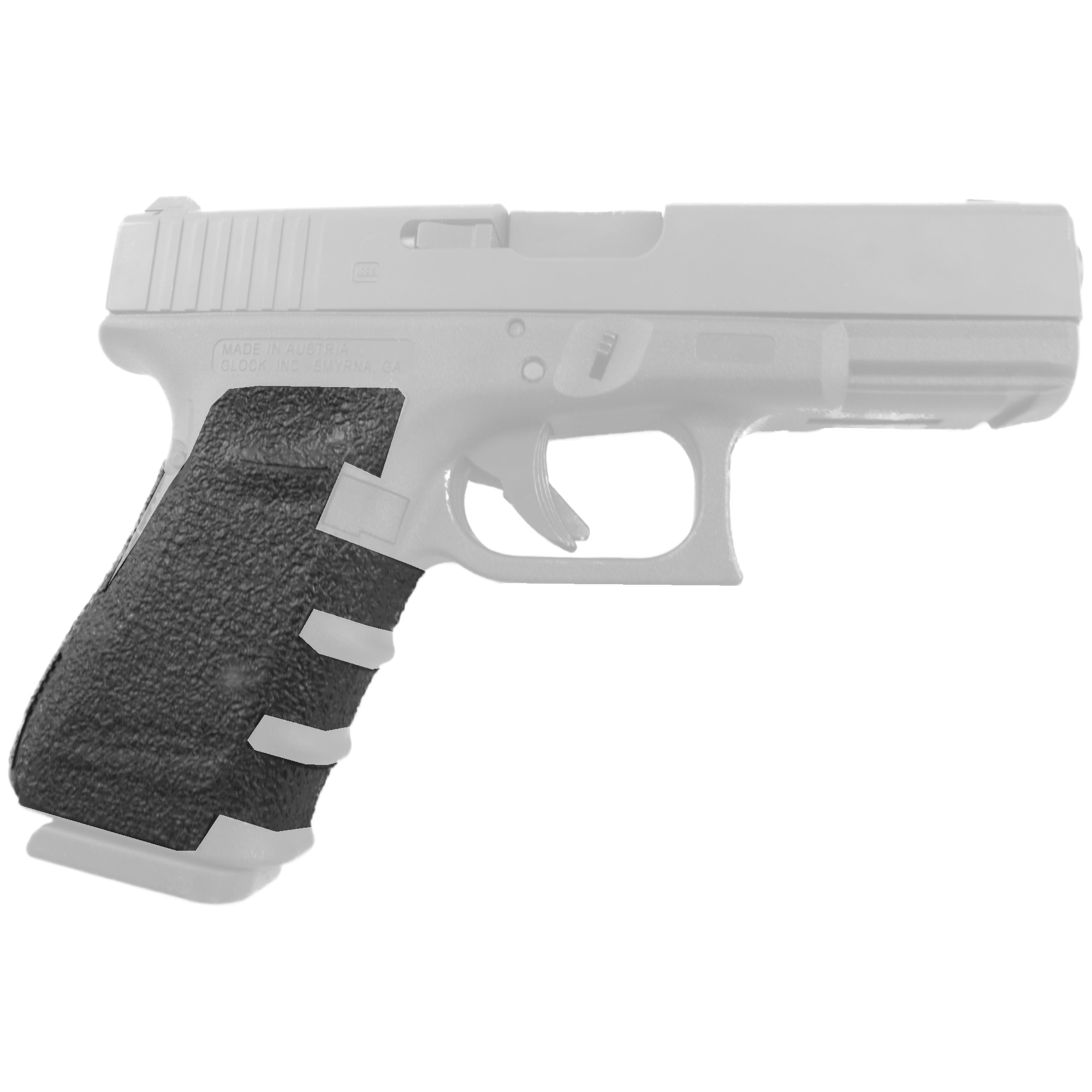 """TALON Grips for Glock 19"""" 23"""" 25"""" 32"""" and 38 models Gen 4 with a Medium Backstrap. This rear wrap grip is in the rubber texture. This grip provides full coverage on the side panels including above the thumb rest"""" ample coverage on the backstrap"""" and three finger wraps for the finger groves under the trigger guard. This grip has a logo cutout for the Glock emblem on the left side of the handle. This grip sticks extremely well even with the Rough Textured Frame (RTF). The medium backstrap will fit both the medium and the medium beavertail backstrap."""