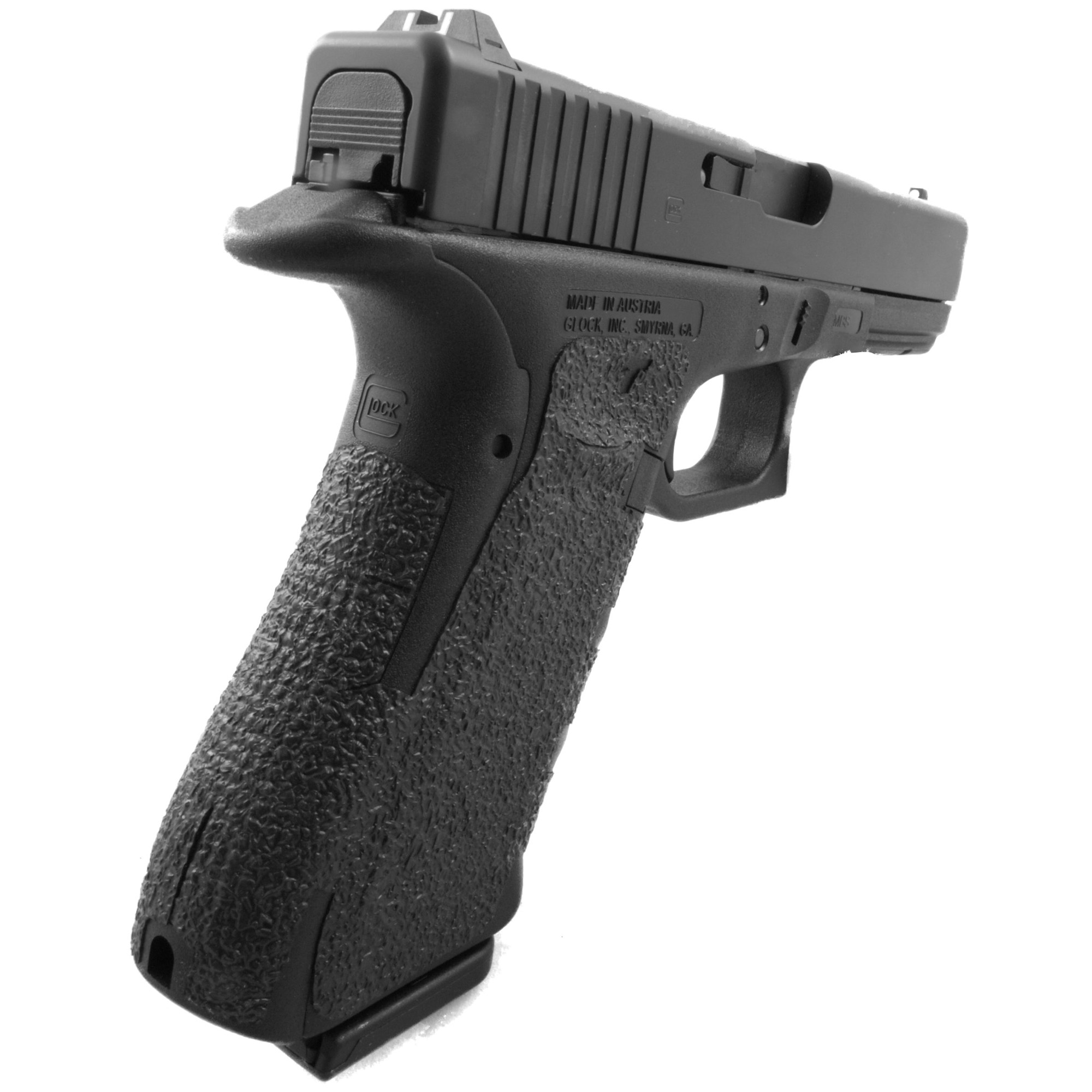 """TALON Grips for Glock Gen 4 Model 17"""" 22"""" 24"""" 31"""" 34"""" 35"""" and 37 with No Backstrap. This rear wrap grip is in the rubber texture. This grip provides full coverage on the side panels including above the thumb rest"""" ample coverage on the backstrap"""" and three finger wraps for the finger groves under the trigger guard. This grip has a logo cutout for the Glock emblem on the left side of the handle. This grip sticks extremely well even with the Rough Textured Frame (RTF)."""