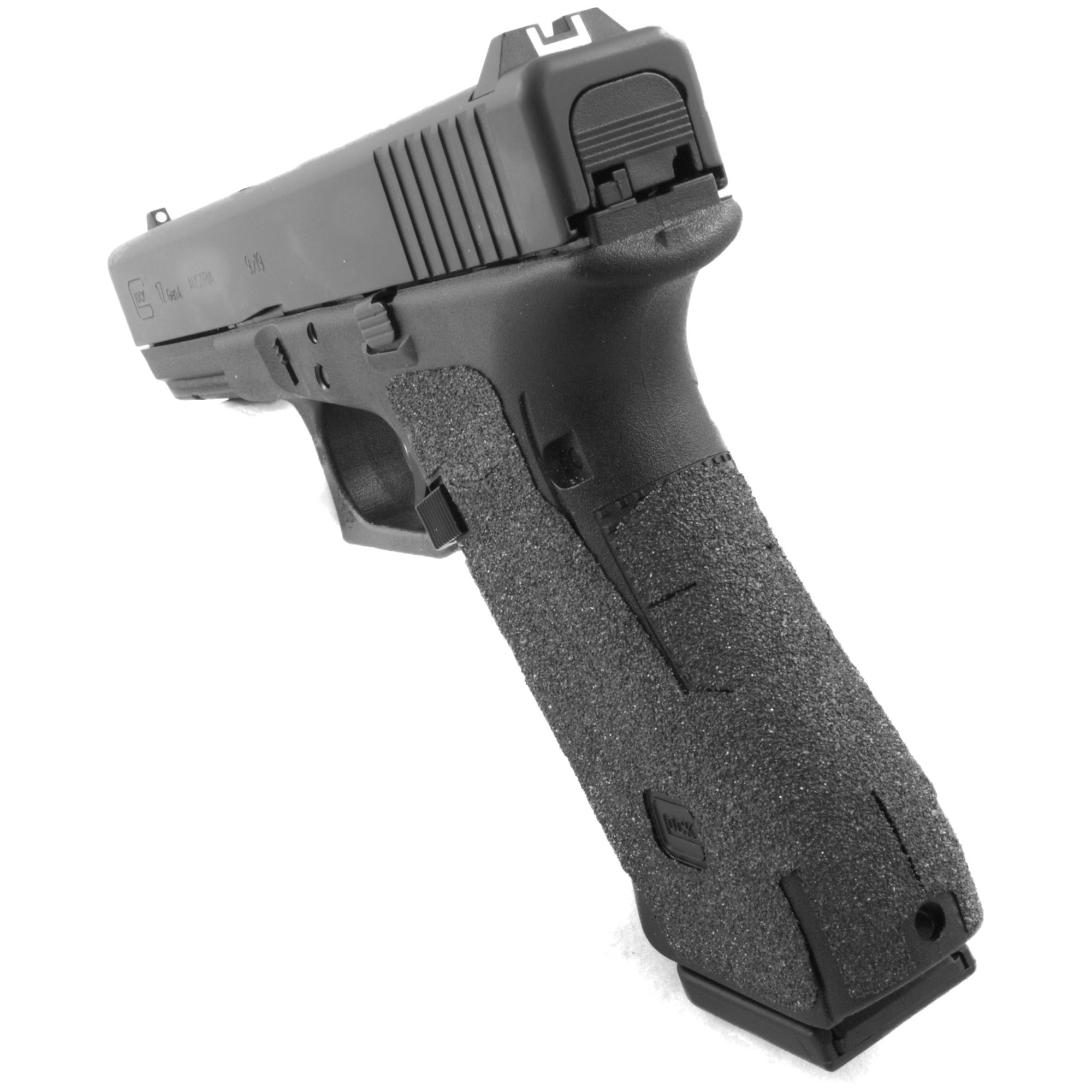 """TALON Grips for Glock Gen 4 Model 17"""" 22"""" 24"""" 31"""" 34"""" 35"""" and 37 with a Medium Backstrap. This rear wrap grip is in the granulate texture. This grip provides full coverage on the side panels including above the thumb rest"""" ample coverage on the backstrap"""" and three finger wraps for the finger groves under the trigger guard. This grip has a logo cutout for the Glock emblem on the left side of the handle. This grip sticks extremely well even with the Rough Textured Frame (RTF). The medium backstrap will fit both the medium and the medium beavertail backstrap."""