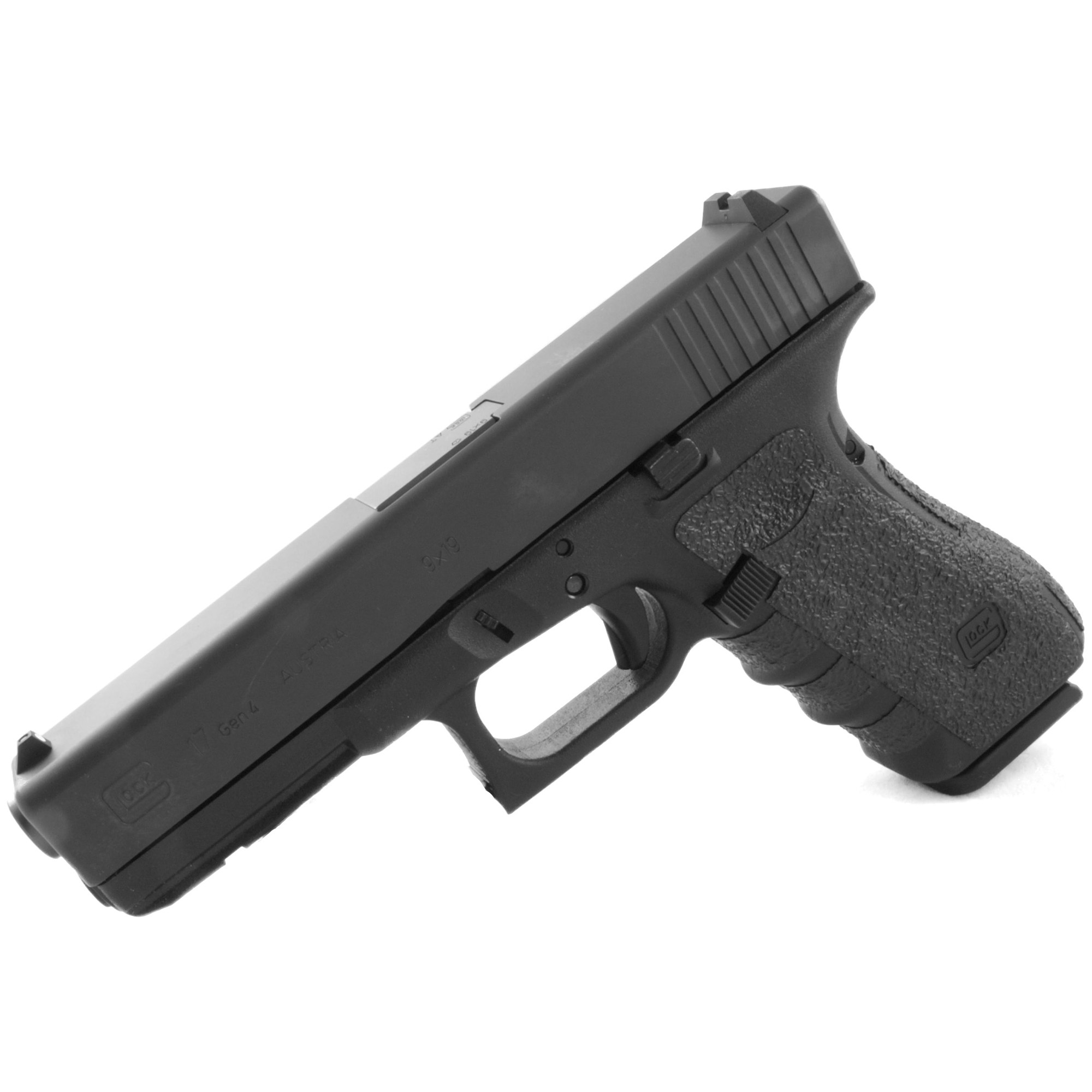 """TALON Grips for Glock Gen 4 Model 17"""" 22"""" 24"""" 31"""" 34"""" 35"""" and 37 with a Medium Backstrap. This rear wrap grip is in the rubber texture. This grip provides full coverage on the side panels including above the thumb rest"""" ample coverage on the backstrap"""" and three finger wraps for the finger groves under the trigger guard. This grip has a logo cutout for the Glock emblem on the left side of the handle. This grip sticks extremely well even with the Rough Textured Frame (RTF). The medium backstrap will fit both the medium and the medium beavertail backstrap."""