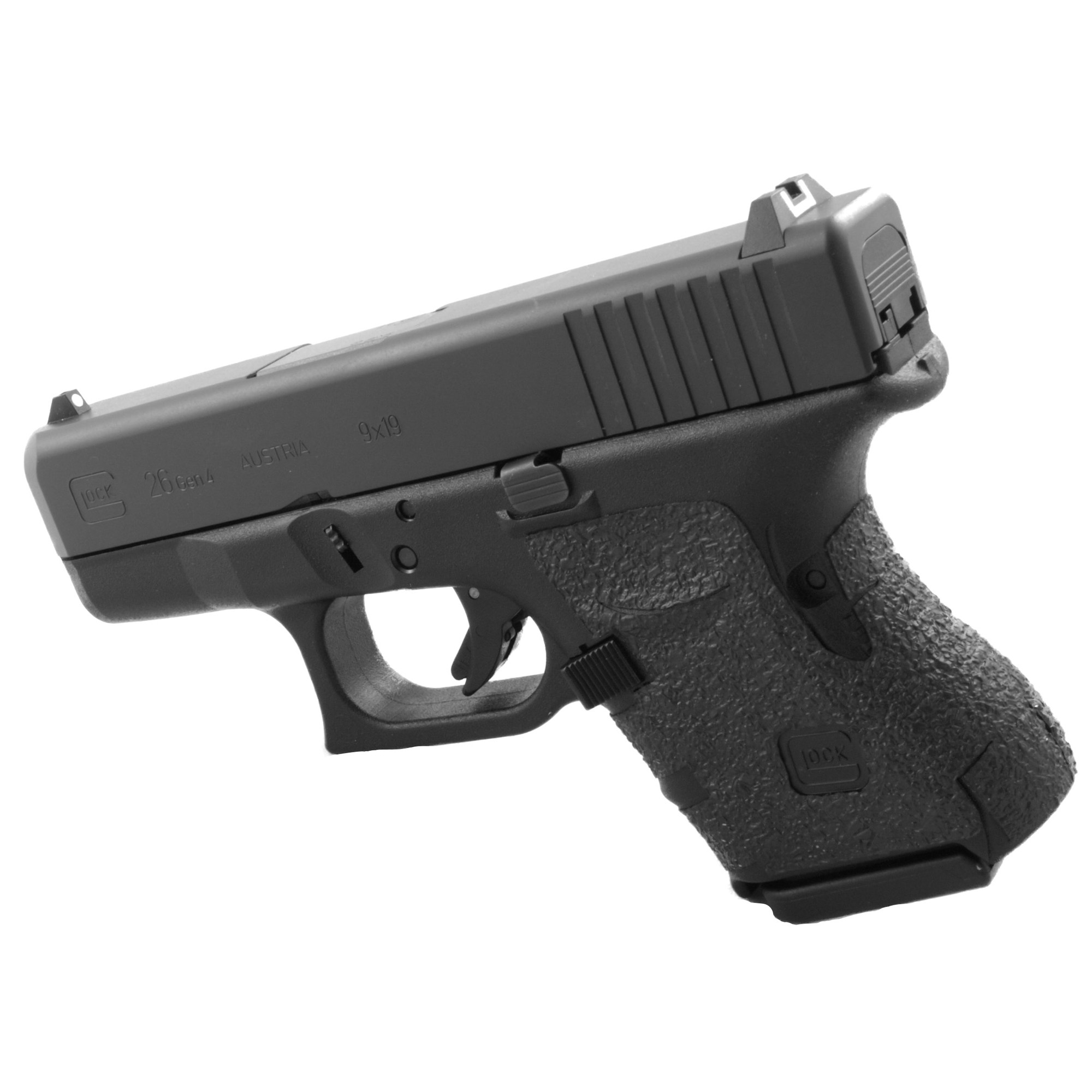 """TALON Grips for Glock Gen 4 Models 26"""" 27"""" 28"""" 33"""" and 39 with No Backstrap. This rear wrap grip is in the rubber texture. This grip provides full coverage on the side panels including above the thumb rest"""" ample coverage on the backstrap"""" and two finger wraps for the finger grooves under the trigger guard. This grip has a logo cutout for the Glock emblem on the left side of the handle. This grip sticks extremely well even with the Rough Textured Frame (RTF)."""