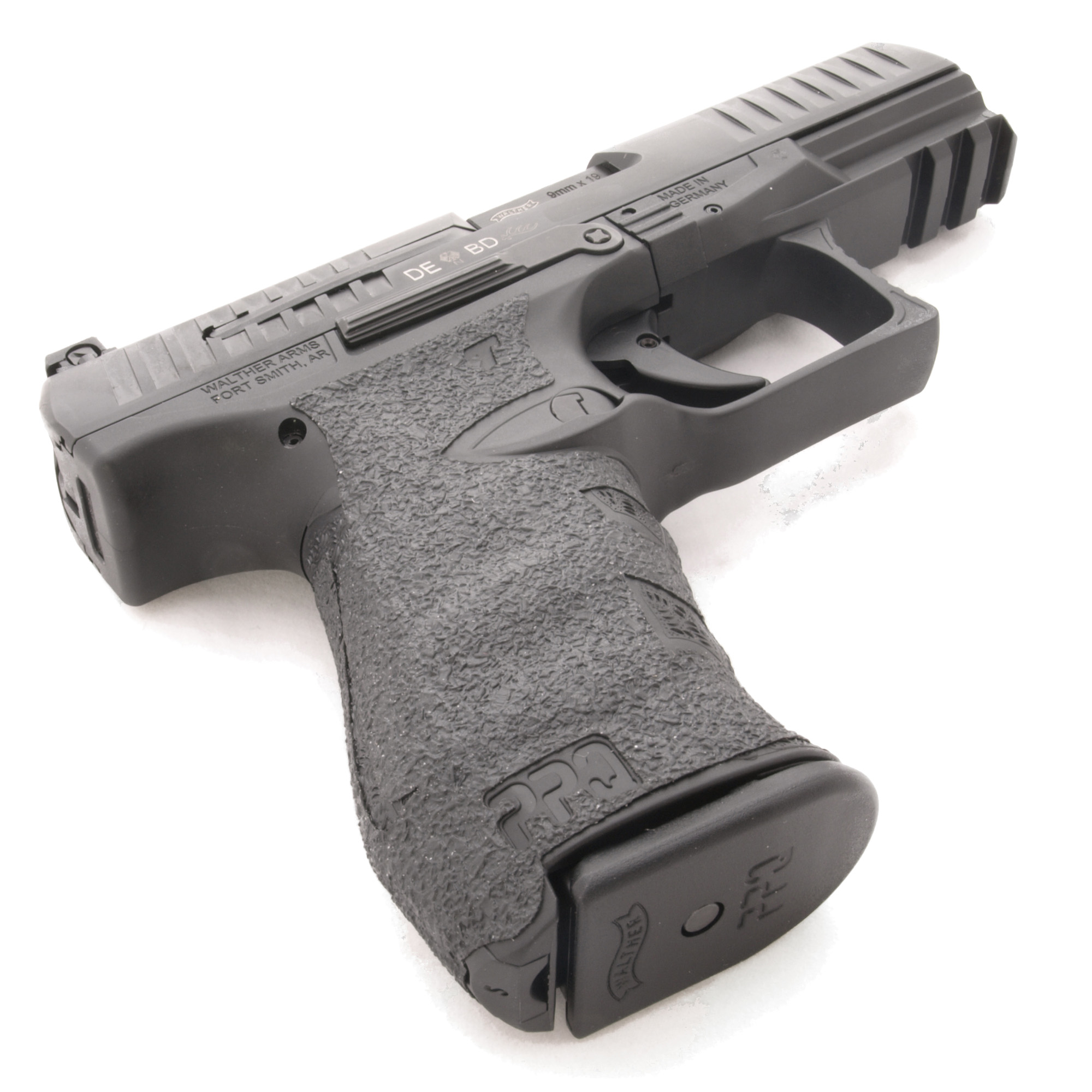 """TALON Grips for Walther Arms PPQ and Q5 Match models .22/9mm/.40. This rear wrap grip is in the rubber texture and offers full side panel coverage including the thumb rest area"""" three finger wraps under the trigger guard"""" and ample coverage on the backstrap. This grip needs no trimming to accommodate any backstrap size. This grip also has specific cutouts for the PPQ emblem. The grip for the 9mm PPQ grip fits the Q5 Match."""