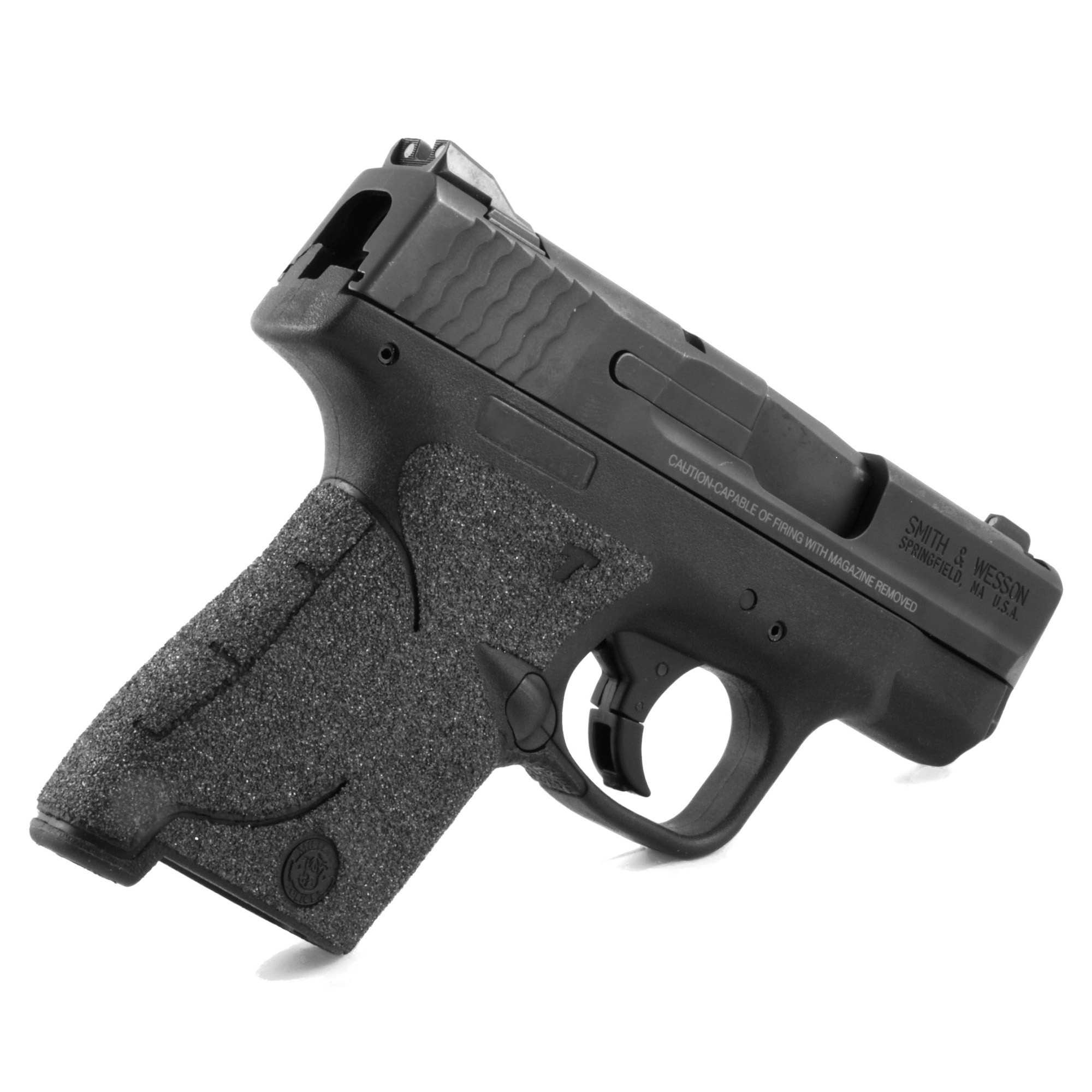 """TALON Grips for Smith & Wesson M&P Shield 9mm"""" .40 Cal. This Rear wrap grip is in the granulate texture and offers full side panel coverage including the thumb rest area"""" full front strap coverage"""" and full coverage on the backstrap. This grip has graphic cutouts for the M&P emblem on both sides of the firearm."""