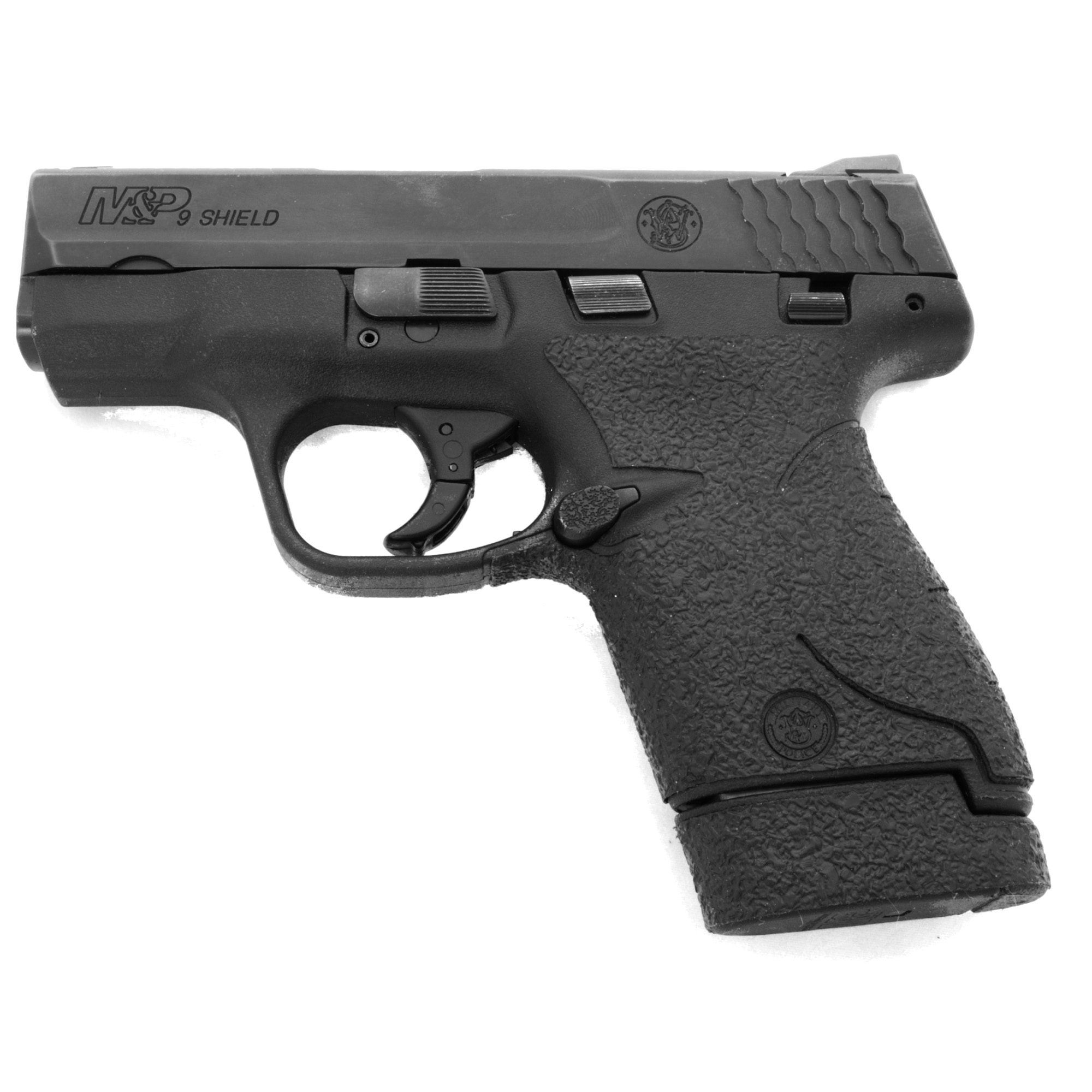 """TALON Grips for Smith & Wesson M&P Shield 9mm"""" .40 Cal. This Rear wrap grip is in the rubber texture and offers full side panel coverage including the thumb rest area"""" full front strap coverage"""" and full coverage on the backstrap. This grip has graphic cutouts for the M&P emblem on both sides of the firearm."""