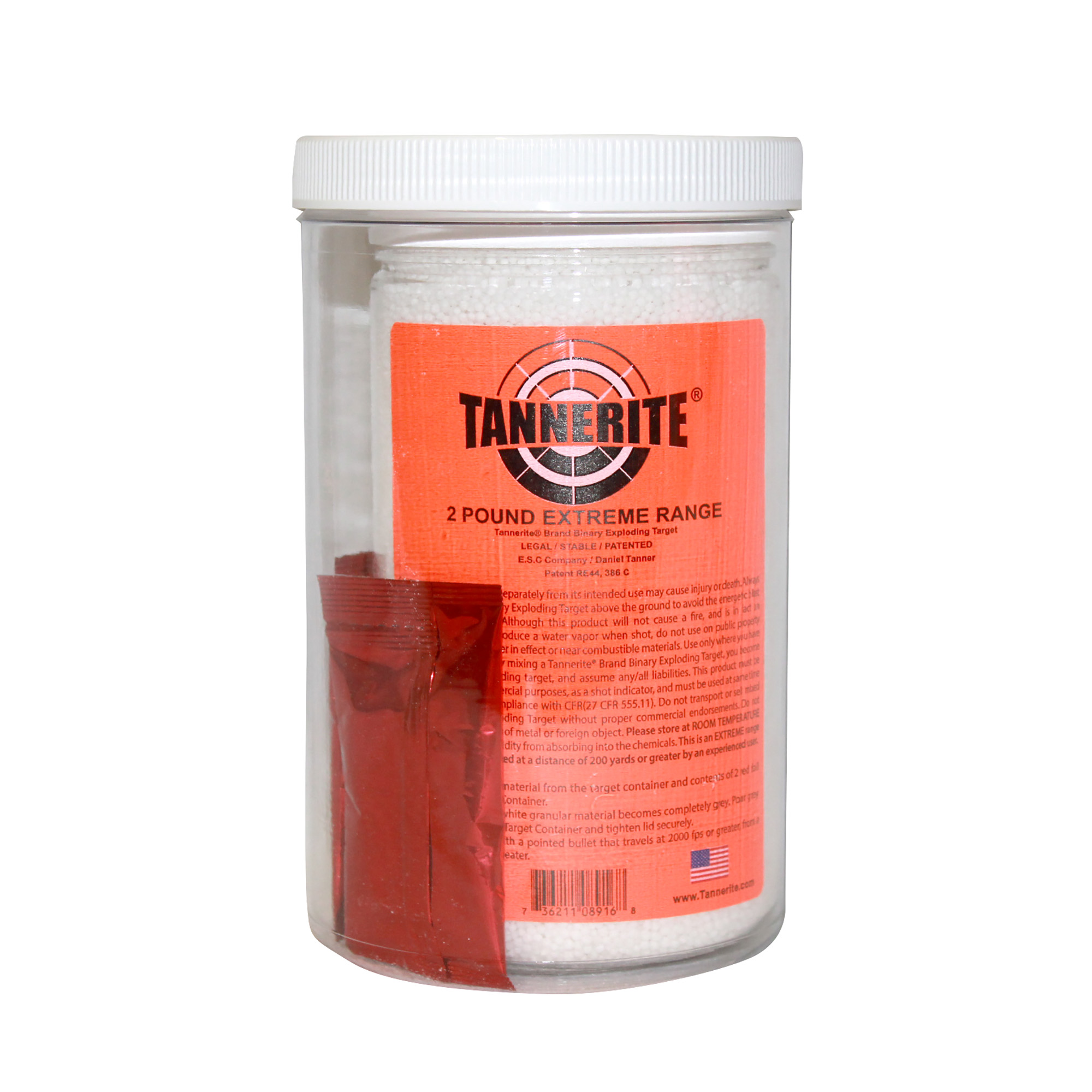 """Tannerite (R) brand targets were specifically designed to be safe and non-flammable"""" whether it's sitting on a shelf"""" being mixed or used. When shot"""" it produces a water vapor and a thunderous boom resembling an explosion. Tannerite (R) brand targets are the shot indicator targets of choice for hunters"""" law enforcement"""" and U.S. armed services."""