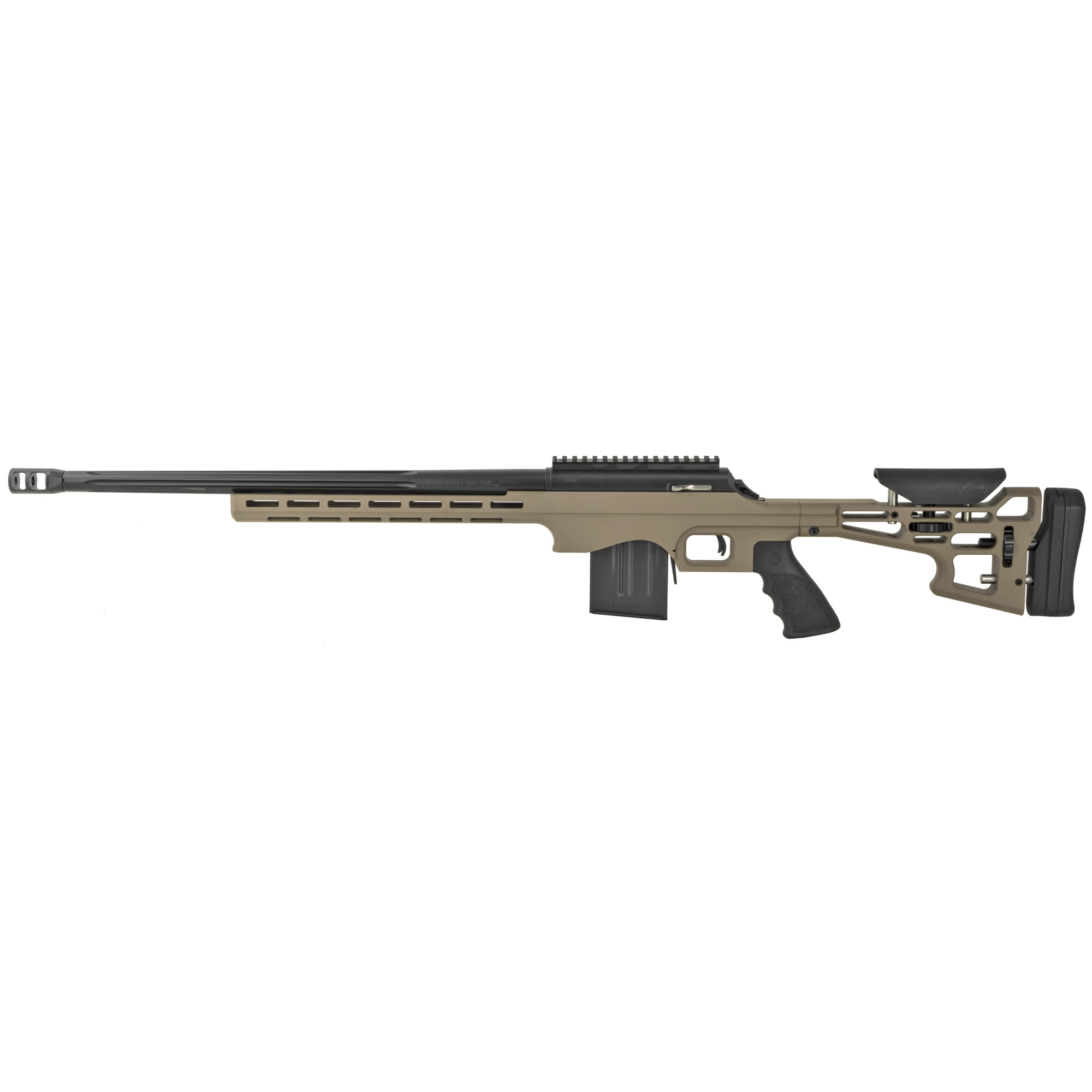 """The Performance Center T/C Long Range Rifle includes a 20 MOA picatinny-style rail and 5R rifled"""" fluted barrel for enhanced accuracy. The rifle features a threaded barrel with muzzle brake"""" and a Performance Center trigger that's adjustable from 2.5 to 3.5 pounds for precise tuning."""
