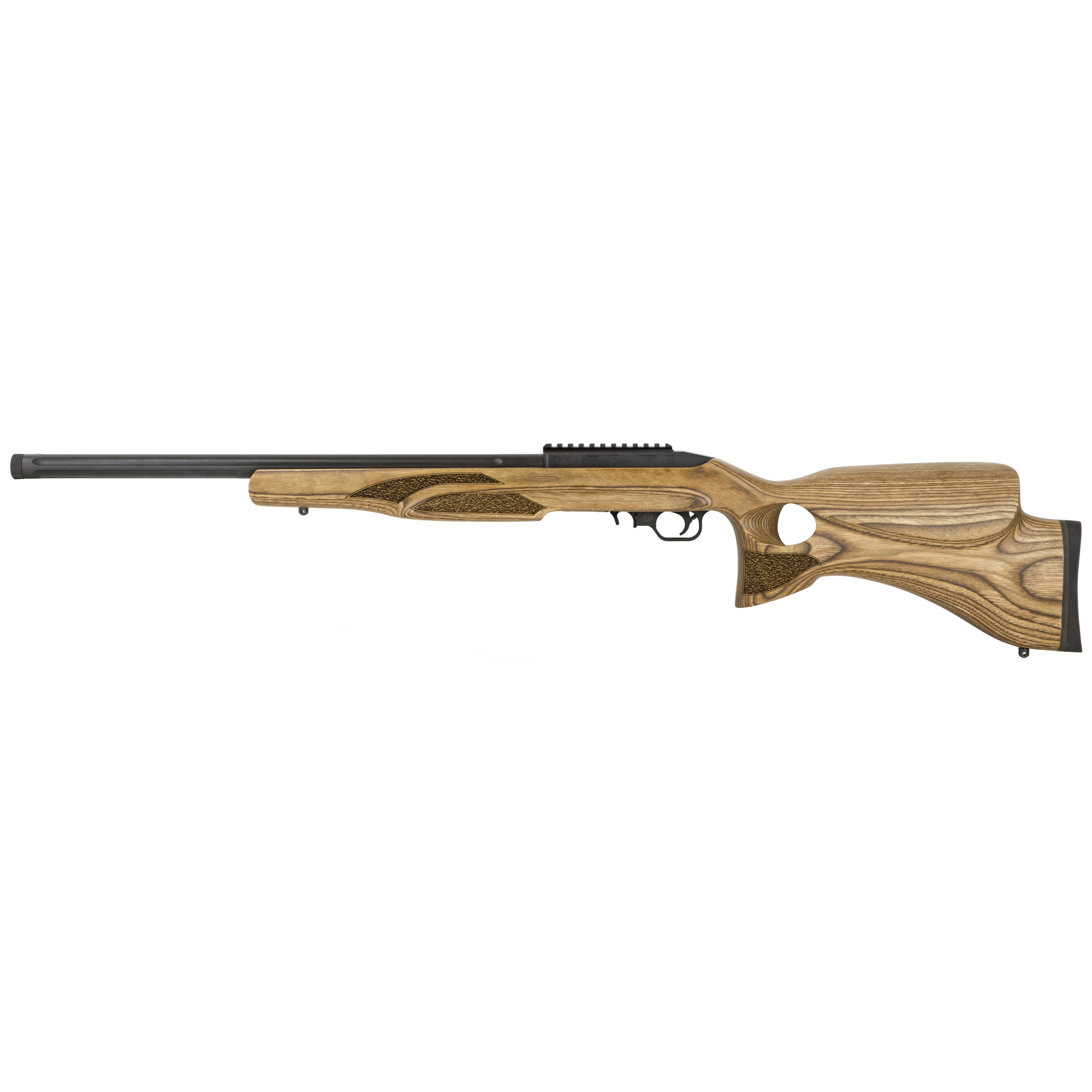 """Thompson Center Arms T/CR22 is a 10-round 22 LR caliber rifle with a 20"""" threaded barrel with a 1:15 rate of twist. It features an Altamont laminated thumbhole laminate stock in a matte black finish."""