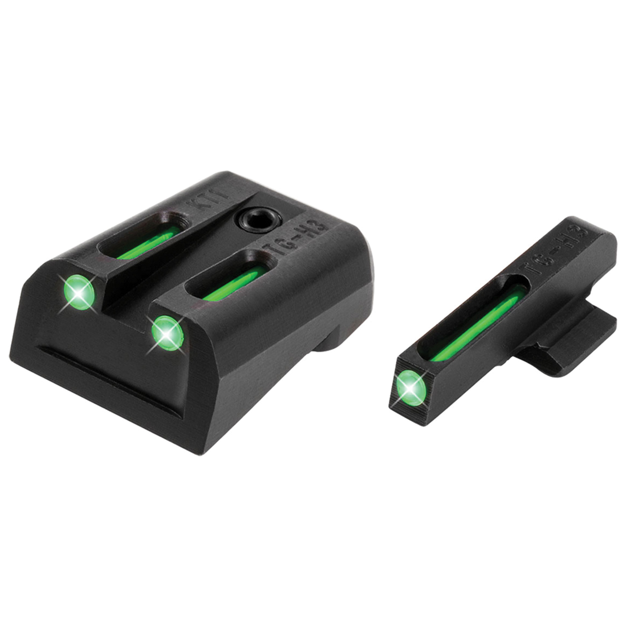 """Truglo Kimber Set (Green/Green)- When you need to make a fast and accurate shot"""" brightness counts. They brought fiber-optics to the shooting sports industry years ago for this very reason. They have now paired them with their tritium night sights to create a consistently bright sight picture-day or night! Their patented combination of Tritium and Fiber-optic technologies unites the best of both worlds. Whether you are in glaring daylight or complete darkness"""" you can count on TFO(R) to provide a bright and reliable sight picture."""