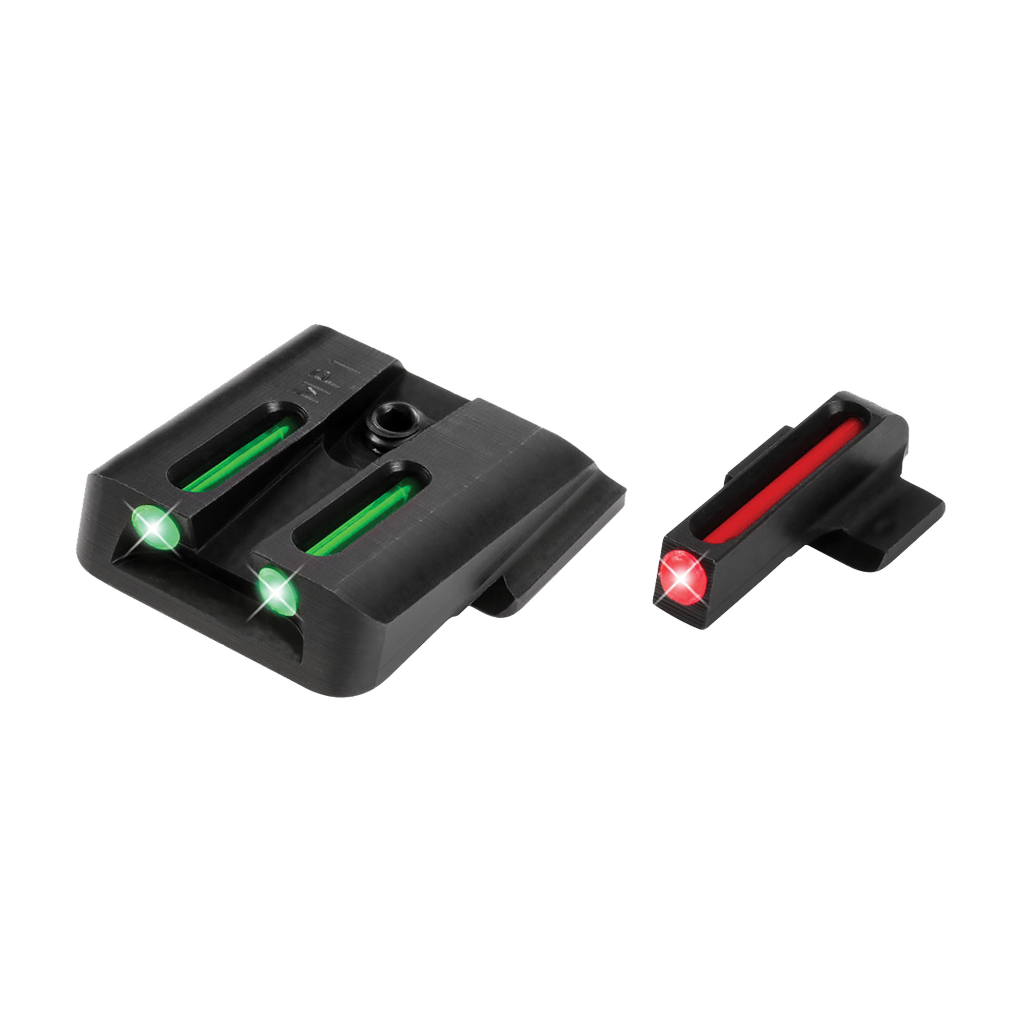 """This fiber optic handgun sight is meant for fast target acquisition and to be easily seen. Made out of CNC-machined steel the sight has contrasting red front and green rear fiber optics. The concealed fiber cannot be seen by the target"""" only the user. The sights fit standard holsters thanks to a snag resistant design."""