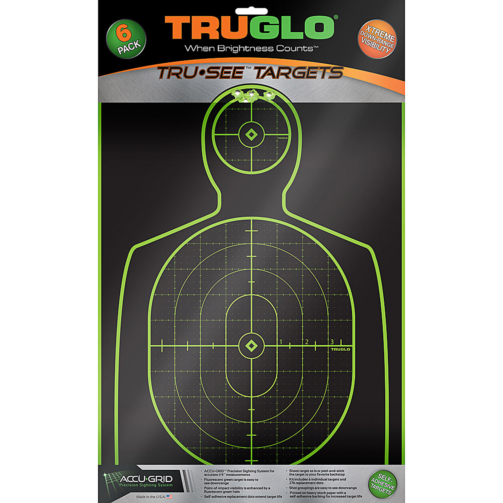 """These targets are ideal for shotguns"""" handguns"""" rifles"""" muzzleloaders"""" airsoft guns and crossbows. Point-of-impact visibility is enhanced by a fluorescent green halo and self-adhesive replacement dots extend target life. Shoot target as is or peel-and-stick the target to your favorite backstop."""