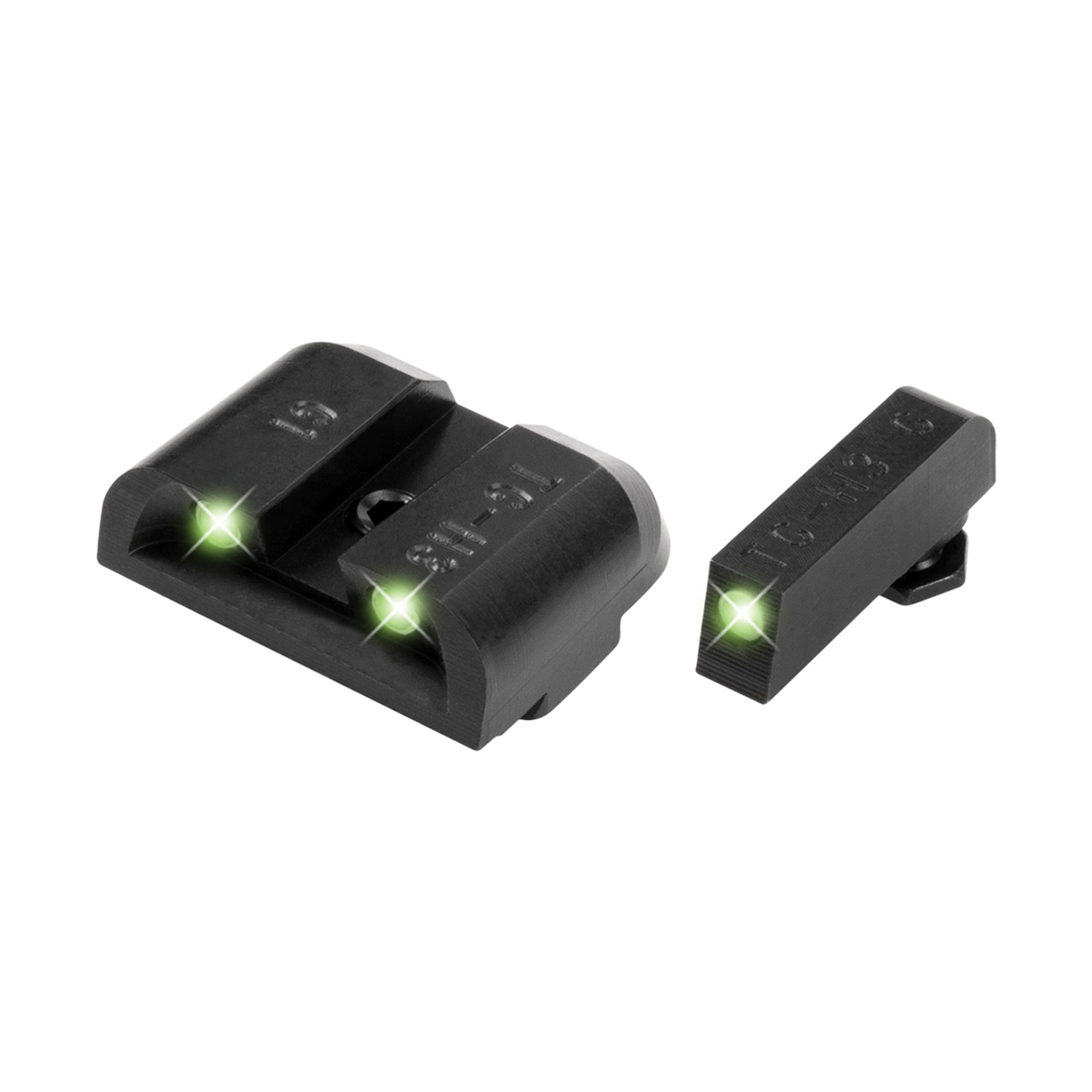 """When the lights go out"""" your sidearm doesn't need to be left in the dark. Tritium night sights transition from standard white dot sights during the daylight"""" to glowing green dots in the dark. Tritium does not need batteries and does not need to be charged with light - it simply glows!"""