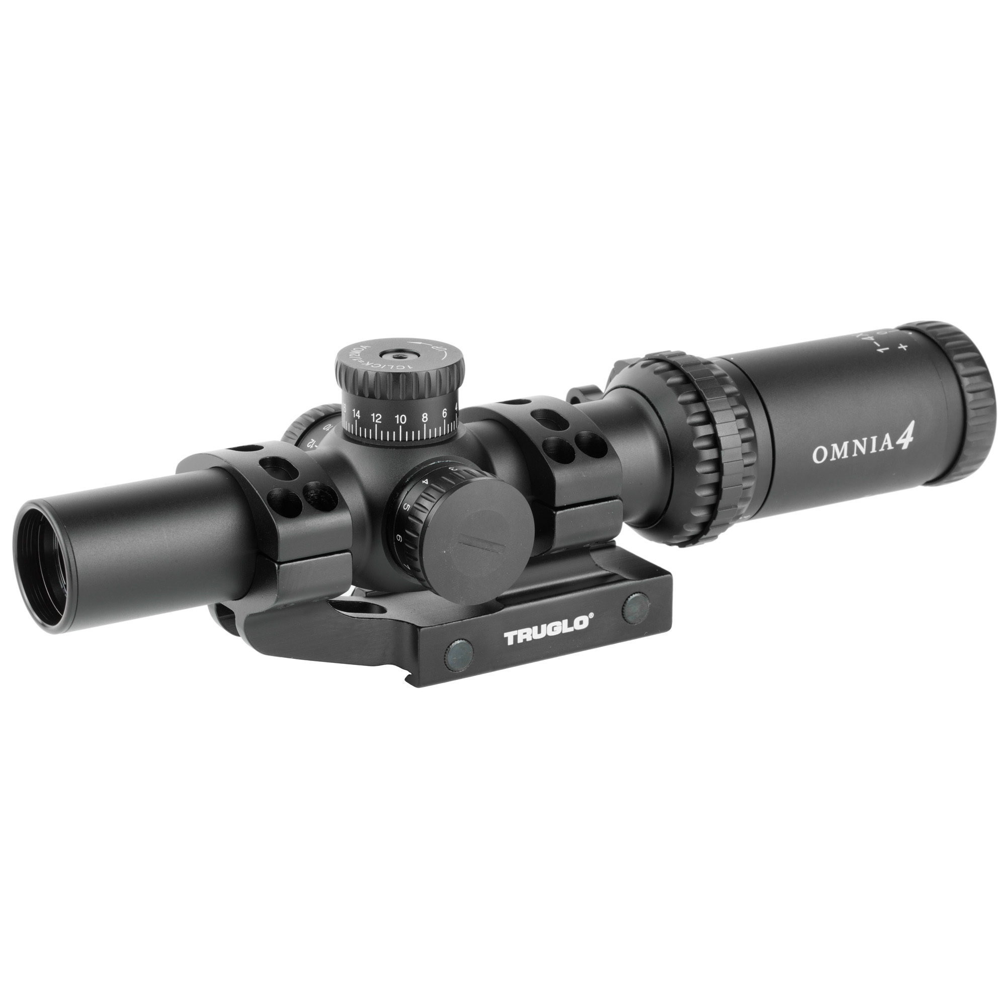 """Created with modern sporting rifles in mind"""" OMNIA precision riflescopes are designed with features and performance tailored to the modern rifleman. The 1-4x and 1-6x magnification ranges pair perfectly with a powerful illuminated reticle that offers the best of both worlds for near-field CQB shooting and long distance precision-fulfilling the entire range of tactical carbines. In the OMINA lineup"""" powerful accessories come standard"""" including a quick-zoom lever and the purpose-built APTUS M-1 tactical 30mm one-piece mount."""