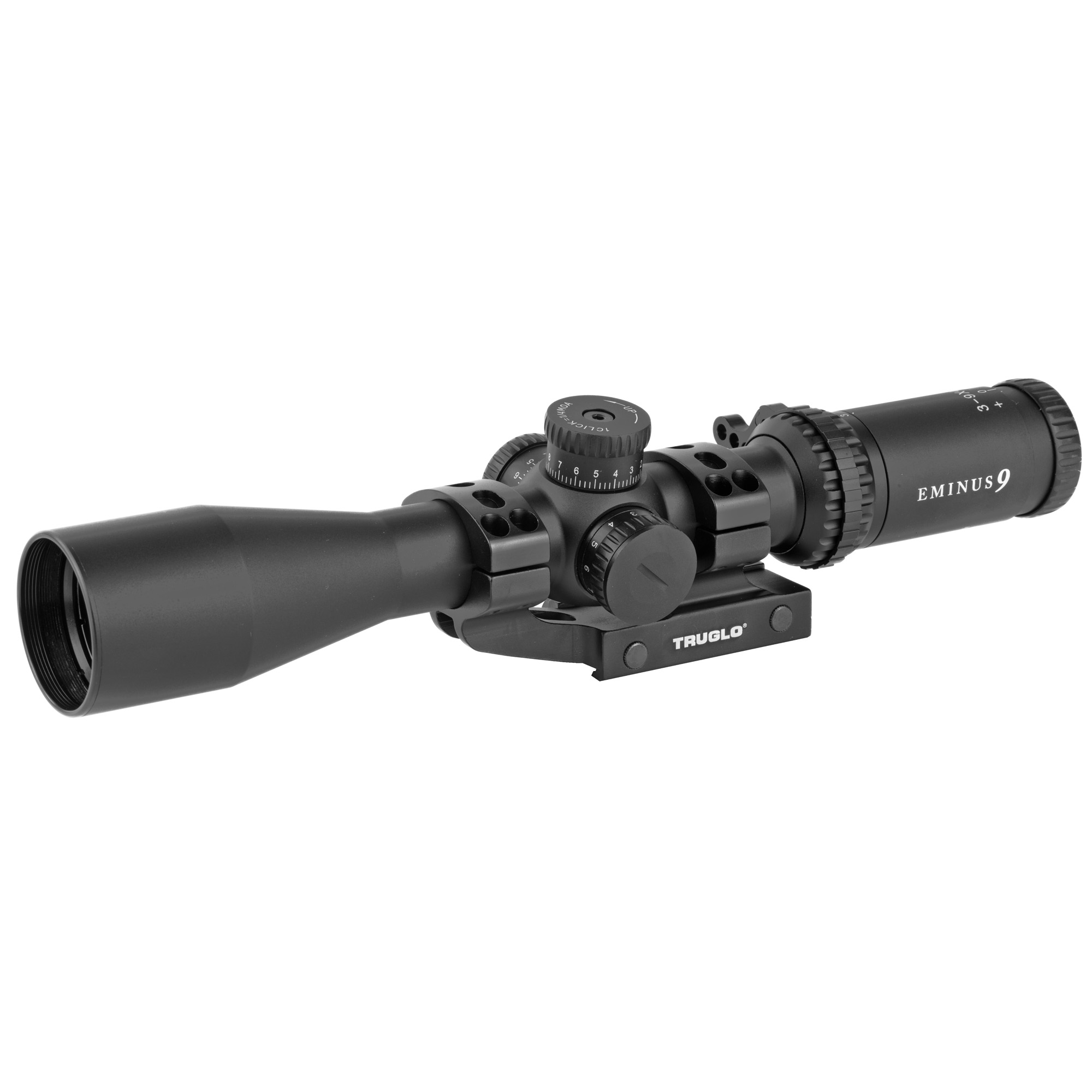 """Modern sporting rifles have come a long way in a short time-with accuracy"""" range"""" and price being better than ever. It is time for optics that not only keep up"""" but increase the potential of contemporary marksmen. EMINUS is designed as a perfect pairing to rifle builds tuned for accuracy and practicality. Quarter-MOA locking target turrets correspond easily to the Illuminated TacPlex Reticle for improved shot tracking"""" measurement and D.O.P.E. dialing."""