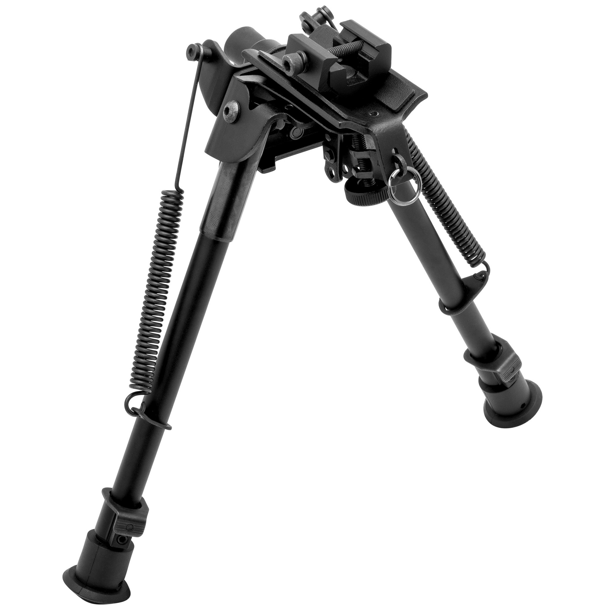"""This TAC POD adjustable bipod mounts to a sling swivel stud or a picatinny rail. It is lightweight and compact with quick deployment. It has a spring-assisted design and its pivoting base offers precision leveling on uneven surfaces. It includes a sling stud adapter that can be used without bipod for additional sling mounting options. Adjusts 9""""-13""""."""