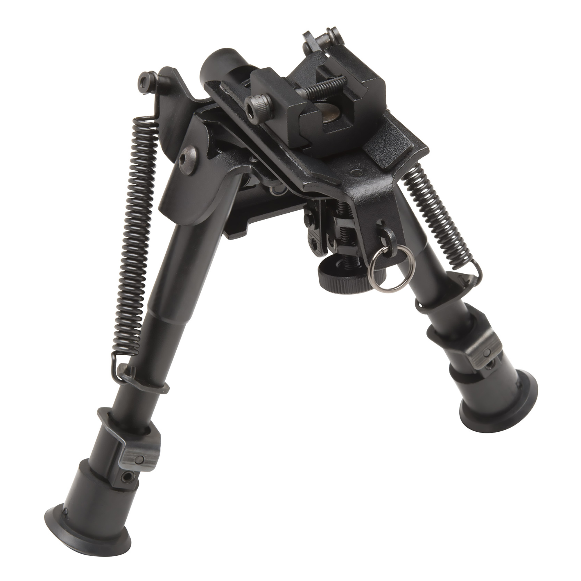 """This TAC POD adjustable bipod mounts to a sling swivel stud or a picatinny rail. It is lightweight and compact with quick deployment. It has a spring-assisted design and its pivoting base offers precision leveling on uneven surfaces. It includes a sling stud adapter that can be used without bipod for additional sling mounting options. Adjusts 6""""-9""""."""