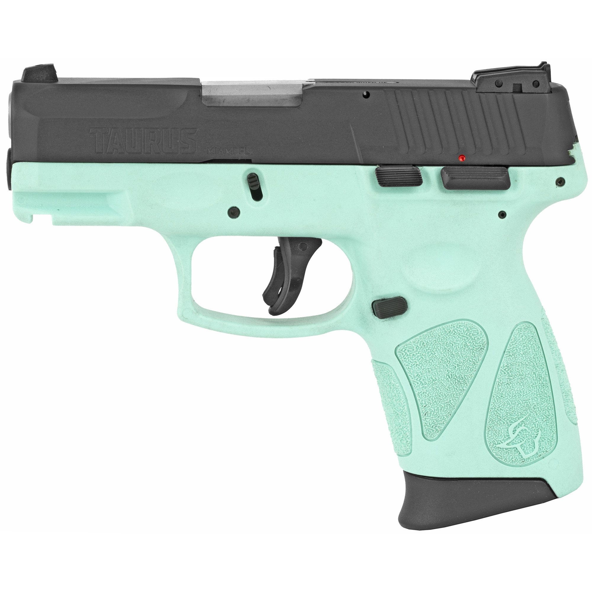 """Chambered in 9mm Luger"""" the new G2C pistols are built on a rugged polymer frame that includes aggressive stippling"""" ergonomically placed along the grip to ensure firearm retention and to maintain positive hand alignment for optimal accuracy. The compact profile (1.25"""" wide x 6.25"""" long x 5.0"""" tall) combined with the 12 round - (9mm Luger) capacity magazines' contoured grip extension delivers a solid"""" comfortable hold for small- or large-hand shooters. Operation of the G2C is straightforward"""" thanks to a striker-fire"""" double-action trigger system that includes restrike capability. A manual"""" external safety is located conveniently above the thumb for quick manipulation in stressful conditions. The reversible magazine release is also ergonomically positioned for rapid"""" one-hand mag drops during tactical mag changes. Integrated into the G2C frame is a Mil-STD 1913 Picatinny rail to accept an accessory light or a laser. The 9mm Luger G2C models are offered with either a matte black carbon steel slide or with a matte stainless-steel slide. The slide contours blend with the frame to promote a smooth"""" snag-free draw and re-holster. Precision-cut slide serrations provide a no-slip grip when charging the pistol. Topping the slide is a fixed white dot front sight and a dual white dot rear sight with elevation and windage adjustment."""