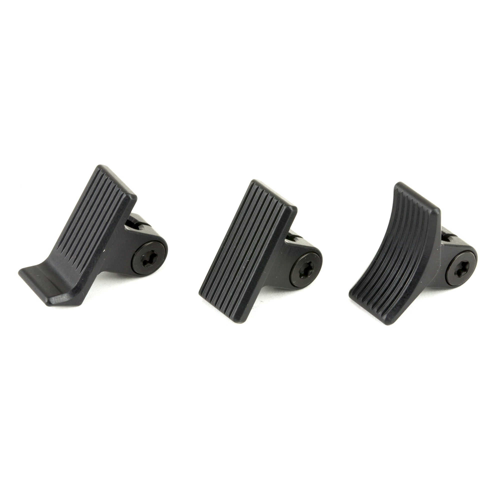"The Calvin Elite Custom AR & Remington 700 adjustable trigger shoe kit includes heeled"" curved and straight shoes."