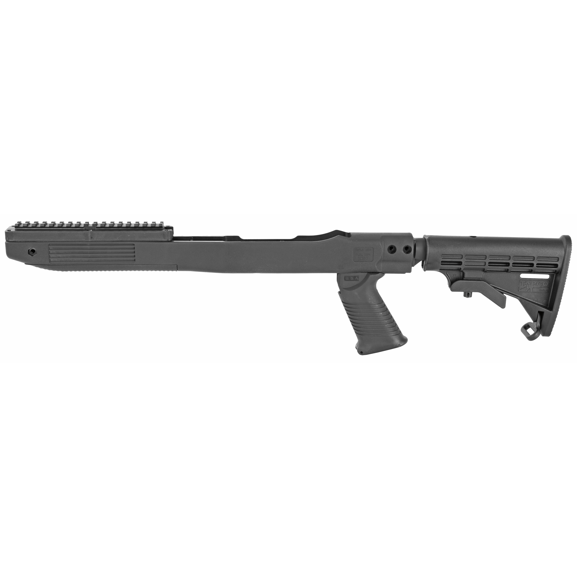 "Are you bored with you 10/22? Do you feel like it needs to be beefed up a bit to compete with the other rifles out there? TAPCO wants to change how people are looking at the 10/22 with the INTRAFUSE 10/22 Standard Stock System. They've put together an easily installed stock system that updates the style of your 10/22 by being completely made of military grade composite. The system will upgrade the ergonomics of your rifle by giving you a 6 position adjustable buttstock"" SAW Style Pistol Grip"" and two different receiver extensions. The straight extension offers you a perfectly aligned cheek weld while using optics and the angled tube enables you to use the iron sights without restrictions."