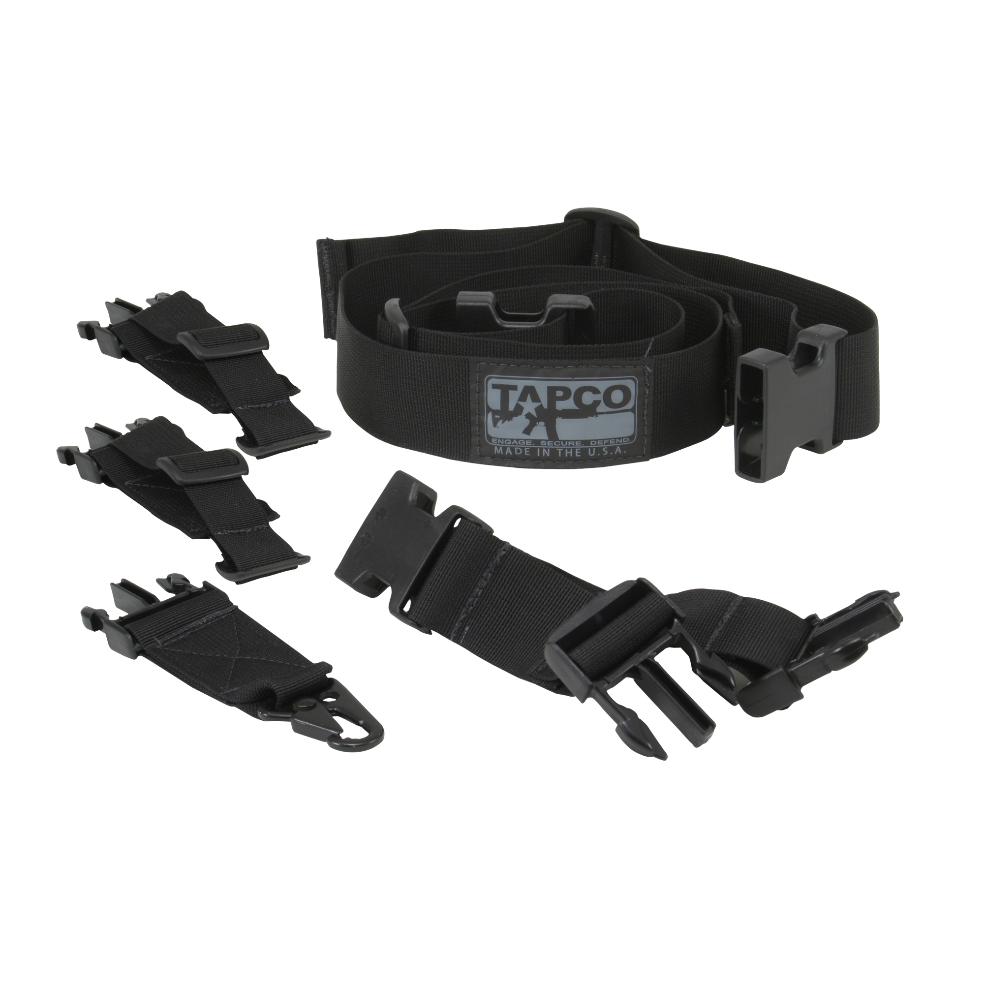 "There is no reason to buy more than one sling to get a single and 2-point attachment setup. The INTRAFUSE(R) Sling System makes sure you don't have to. This sling system comes with everything needed to attach as a single point or a 2-point sling. Never leaving good enough alone"" Tapco has also enhanced some of the components in the system. Tapco has replaced the old HK style hook adaptor with a new MASH Hook making it easier to use with gloves and allowing it to fit almost any size connector. The hook is also covered with an elastic ""sock"" that protects the firearm from scratches and reduces noise. It does not stop there though. Tapco has also made sure that their sling system will work with all popular stocks"" fixed and collapsible"" by adding a short and long loop attachment. Still 100% U.S. Made too!"