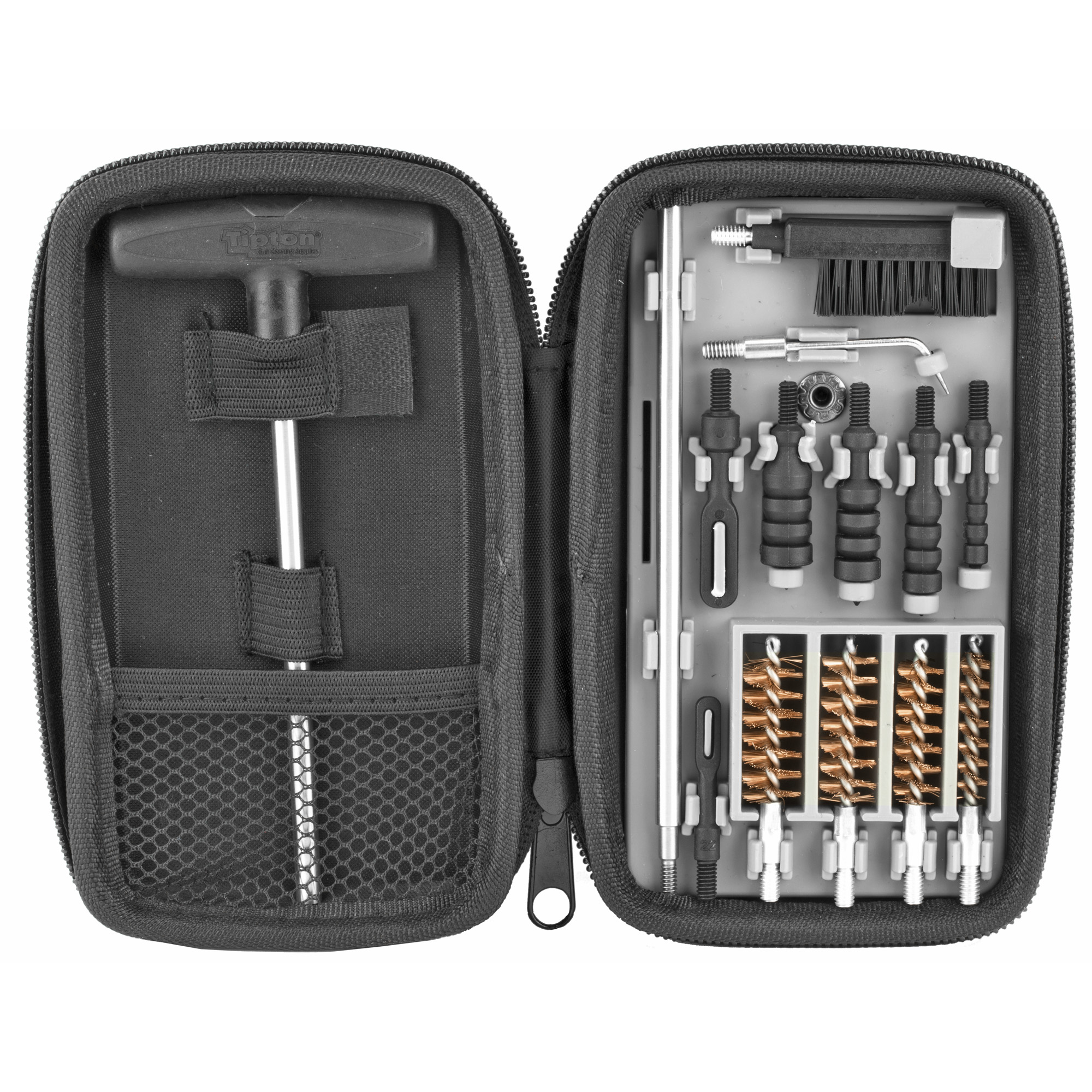 """Hold the power to clean multiple handgun calibers in the palm of your hand with the Tipton Compact Pistol Cleaning Kit. This kit comes in a semi-rigid"""" zippered carry case and can be used on handgun calibers ranging from .22-.45. Whether you travel a lot"""" clean at the range"""" or like to be organized at home"""" this kit is the perfect size for storing in small spaces and durable enough to take anywhere."""