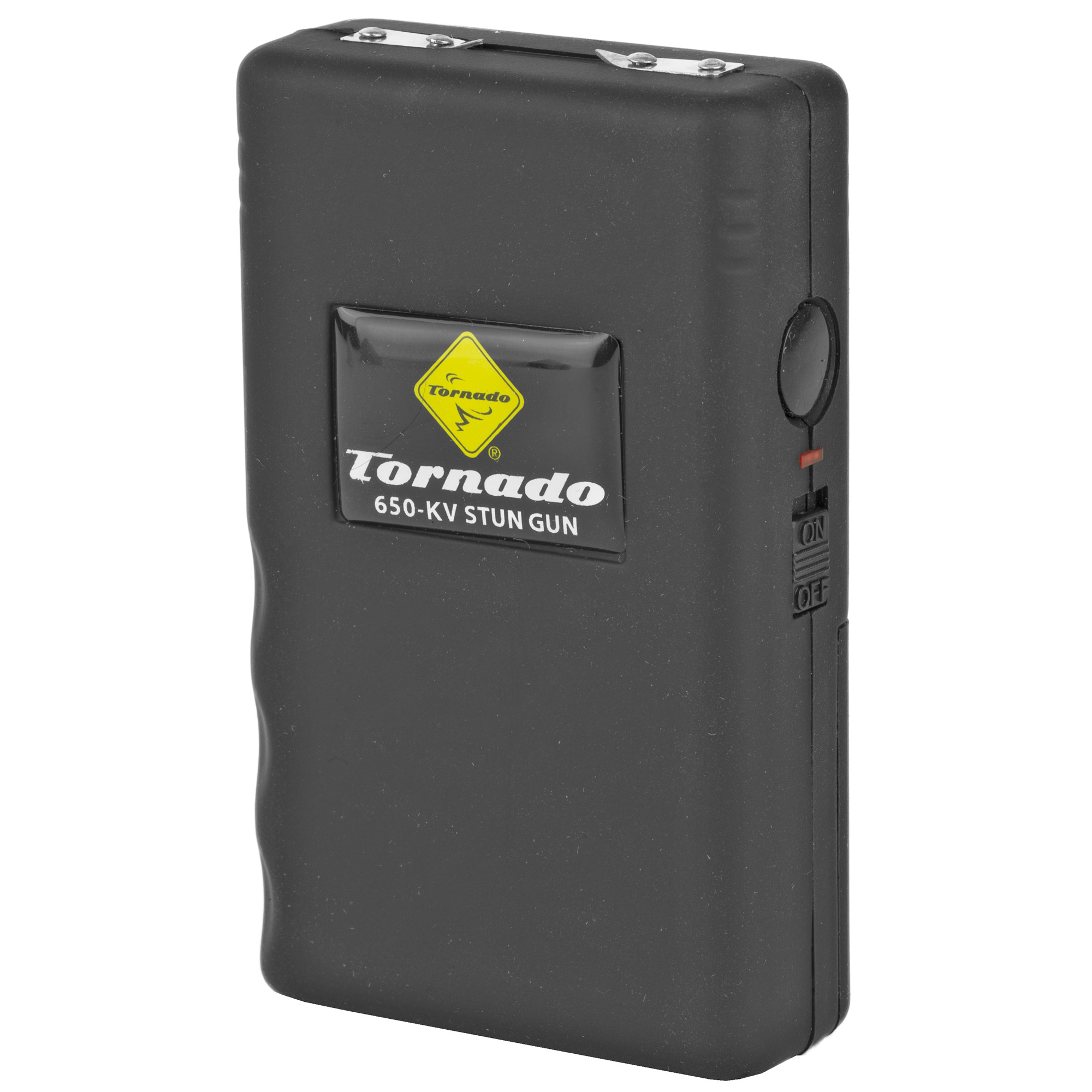 "The Tornado 650V Stun Gun generates 650""000 volts of stun power. Features a safety switch with LED light and soft rubber coating with secure contour grip."