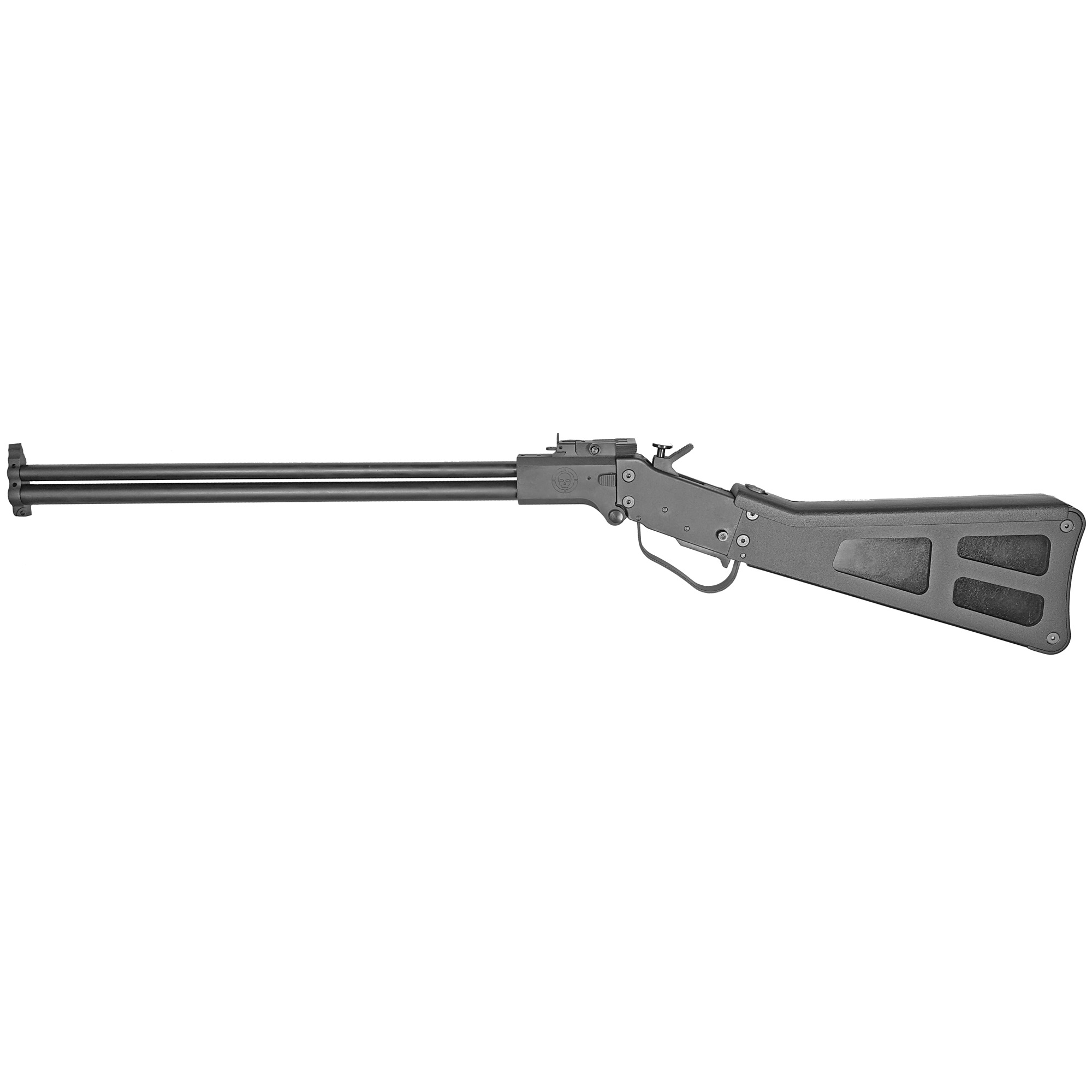The M6 Takedown is an over/under combo (22LR/410Ga) made of all steel construction with a blued finish. It has adjustable sights and an AR-style takedown pin for quick breakdown.