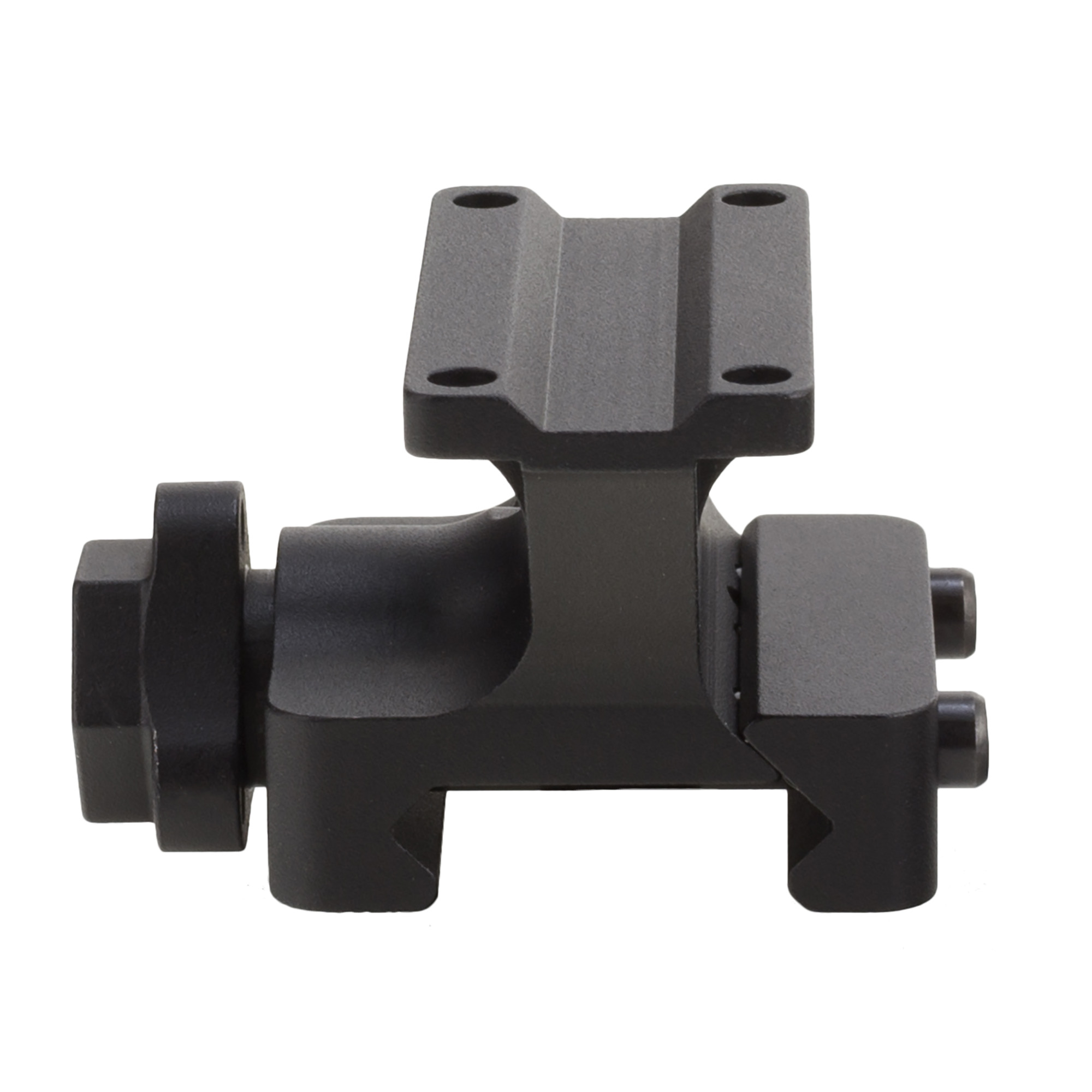 "The Trijicon MRO(R) Full Co-Witness Quick Release mount features a Mil-Spec drop test rated 7075-T6 aluminum design"" with an easy to use one handed tool less mounting. Return to Zero features in a low weight"" low profile design which works with any Picatinny rail. This means that the MRO is mounted at the same height as the iron sights. The optic's aiming dot will appear at the top of the iron sight post. This mount is typically used with flip up iron sights."