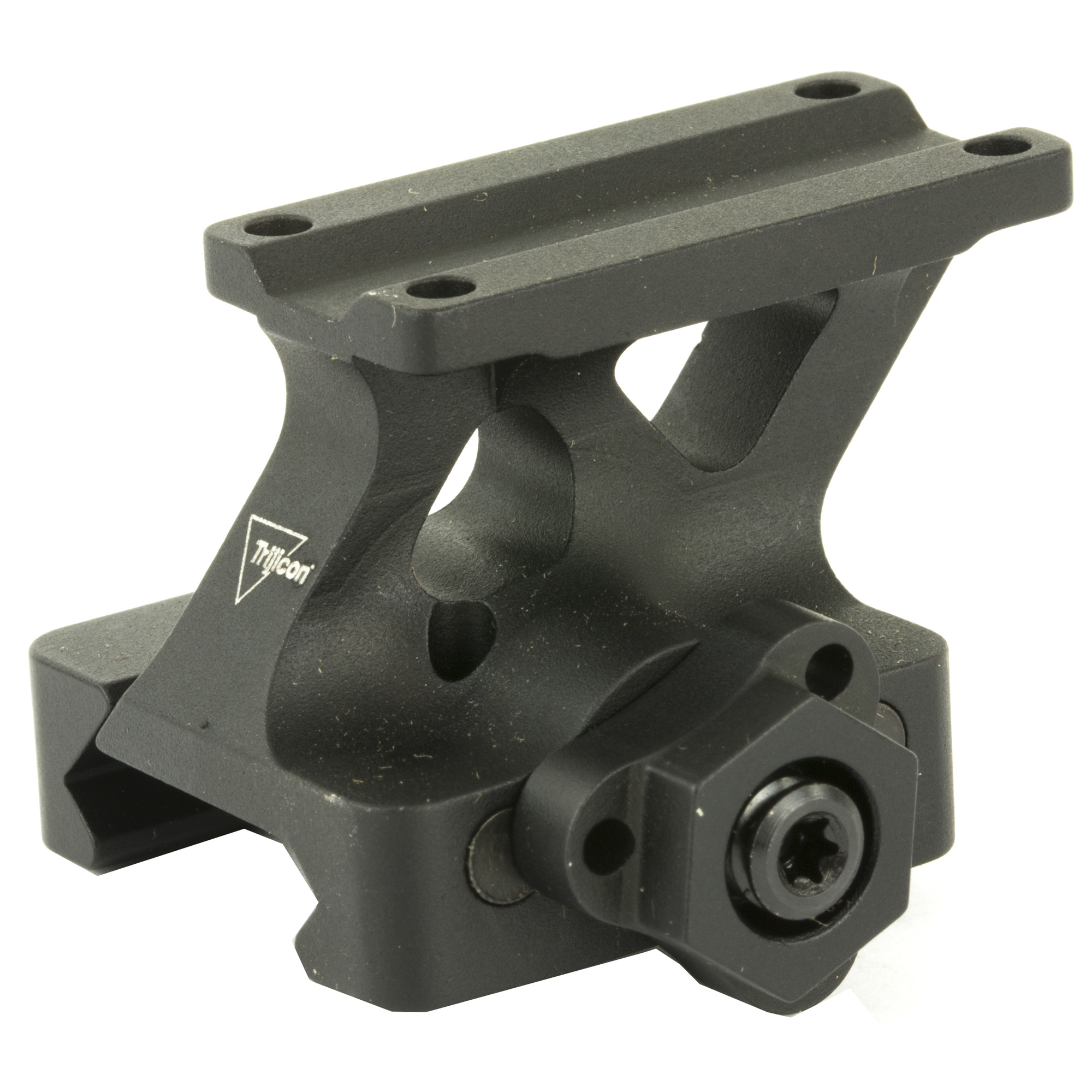 "The Trijicon MRO(R) 1/3 Co-Witness Quick Release mount features a Mil-Spec drop test rated 7075-T6 aluminum design"" with an easy to use one handed tool less mounting. Return to Zero features in a low weight"" low profile design which works with any Picatinny rail. This means that the MRO is mounted at the same height as the iron sights. The optic's aiming dot will appear at the top of the iron sight post. This mount is typically used with flip up iron sights."