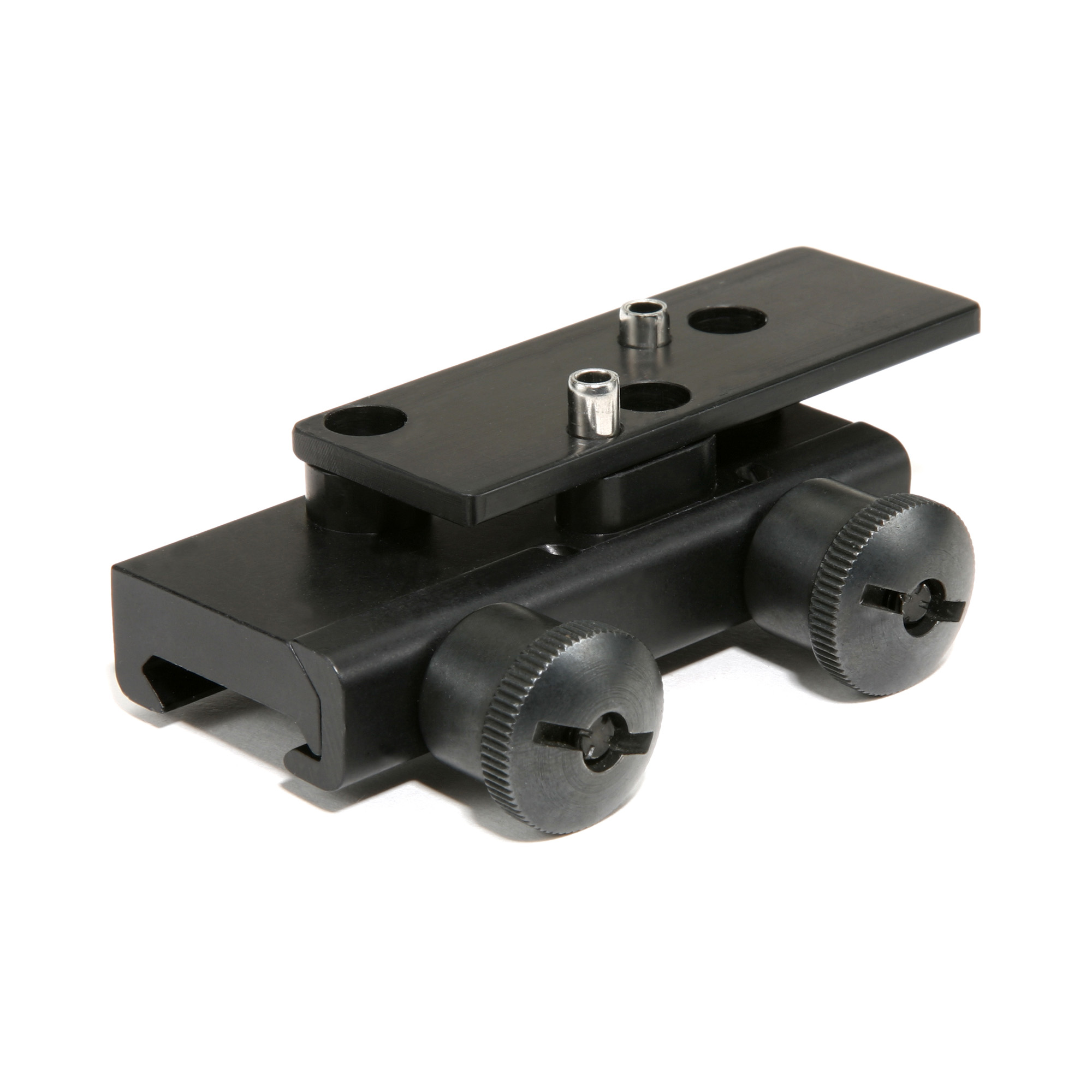 This thumbscrew flattop mount clamps onto 1913 Picatinny rails.